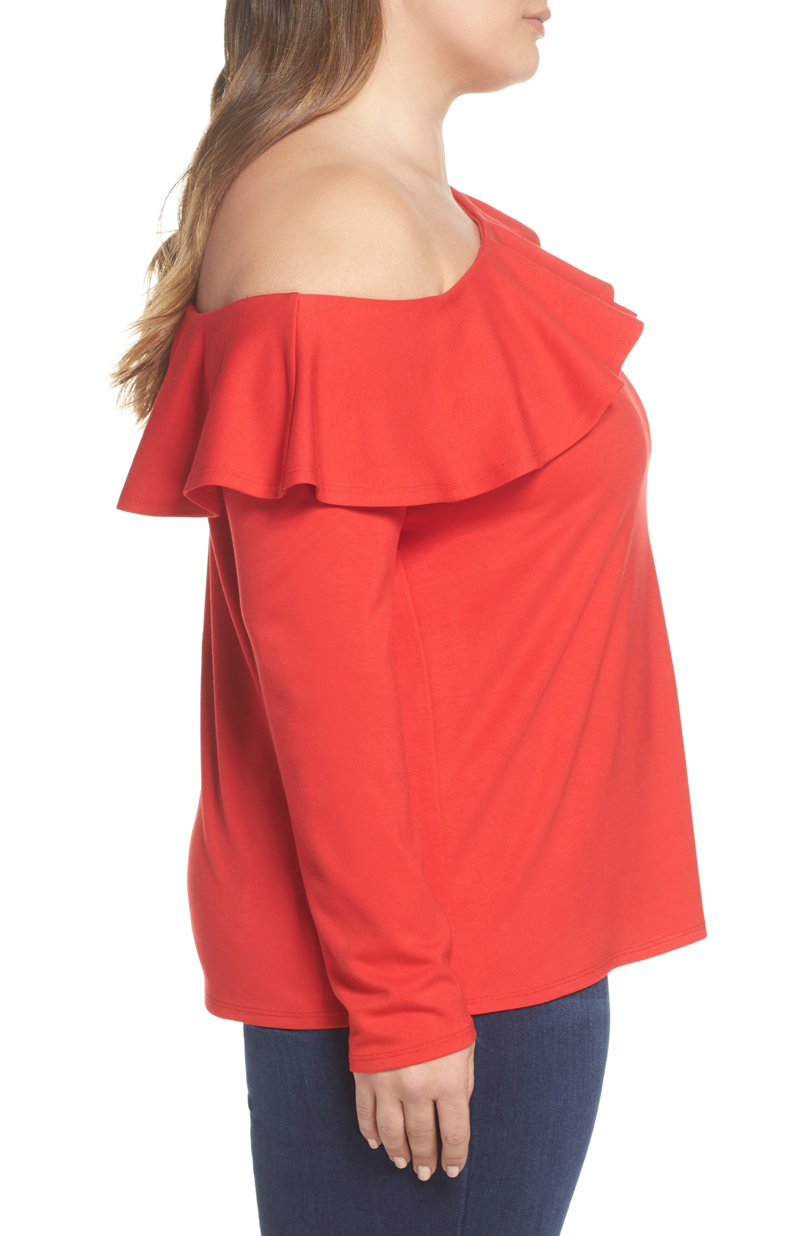 x Living in Yellow Elizabeth One-Shoulder Ruffle Top,                             Alternate thumbnail 13, color,