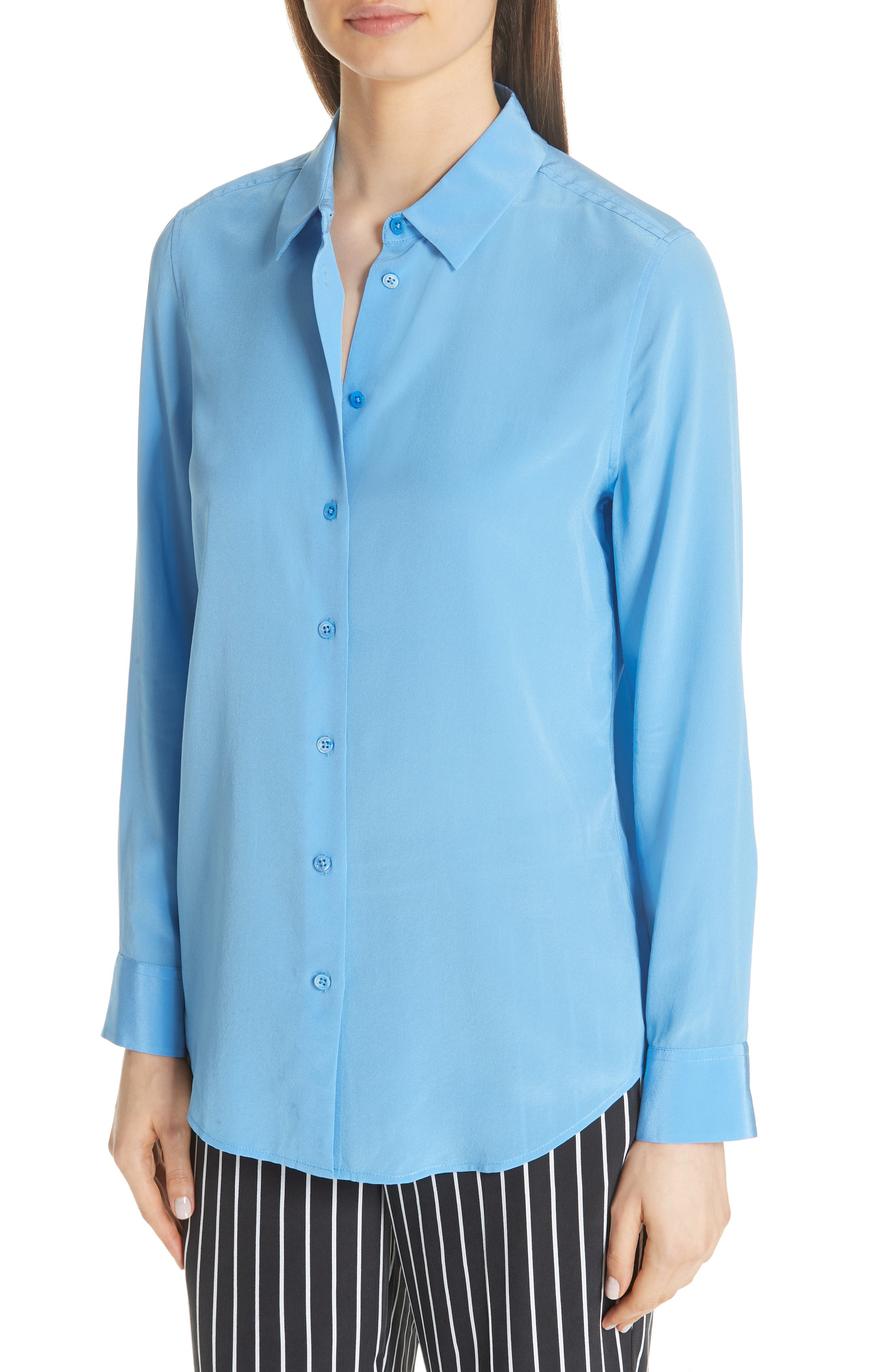 Essential Silk Blouse,                             Alternate thumbnail 4, color,                             ACADEMY BLUE