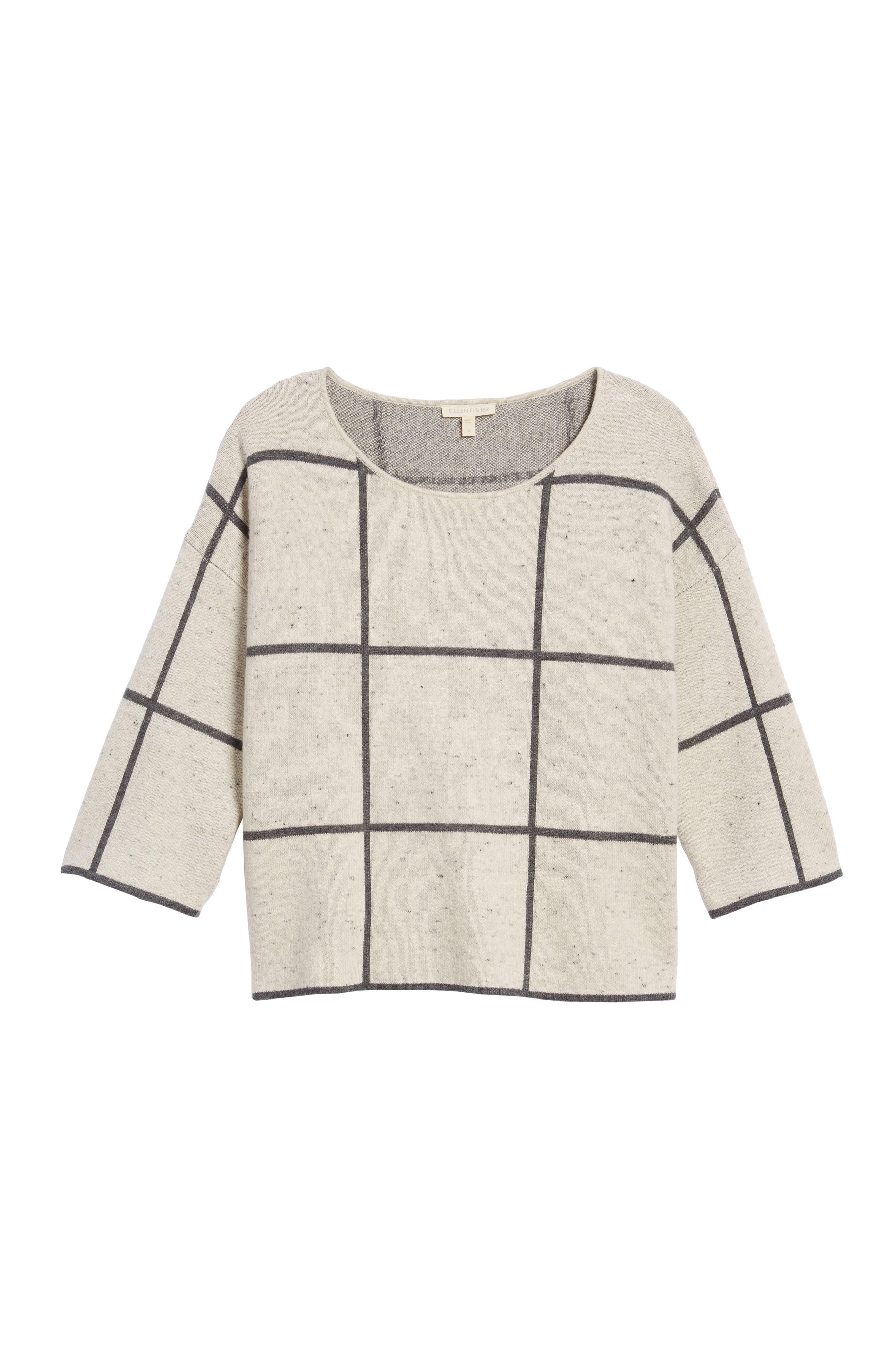 Windowpane Check Boxy Sweater,                             Alternate thumbnail 6, color,