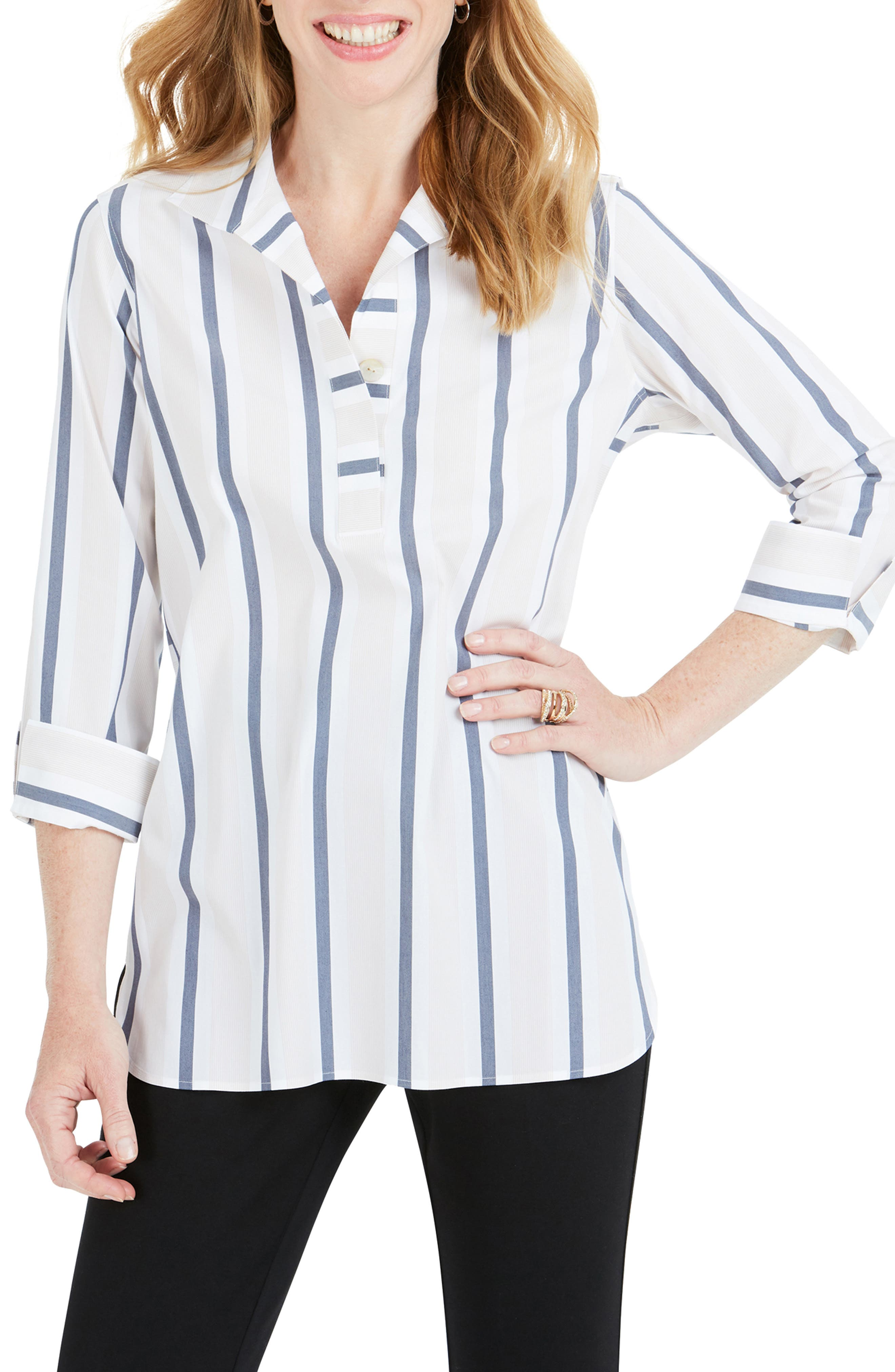 Foxcroft DORA VARIEGATED STRIPE SHIRT