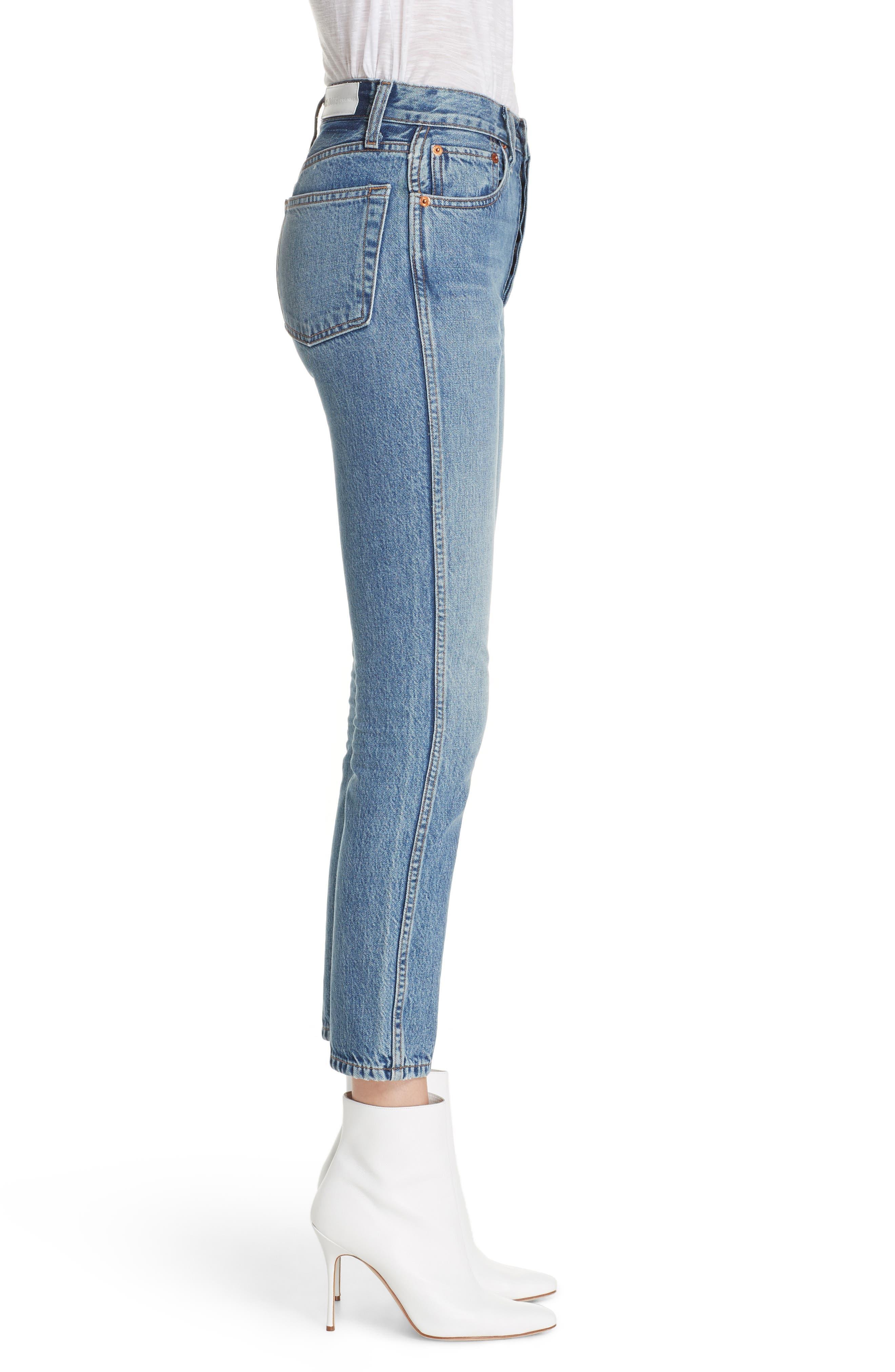 Originals High Waist Double Needle Ankle Jeans,                             Alternate thumbnail 3, color,                             400