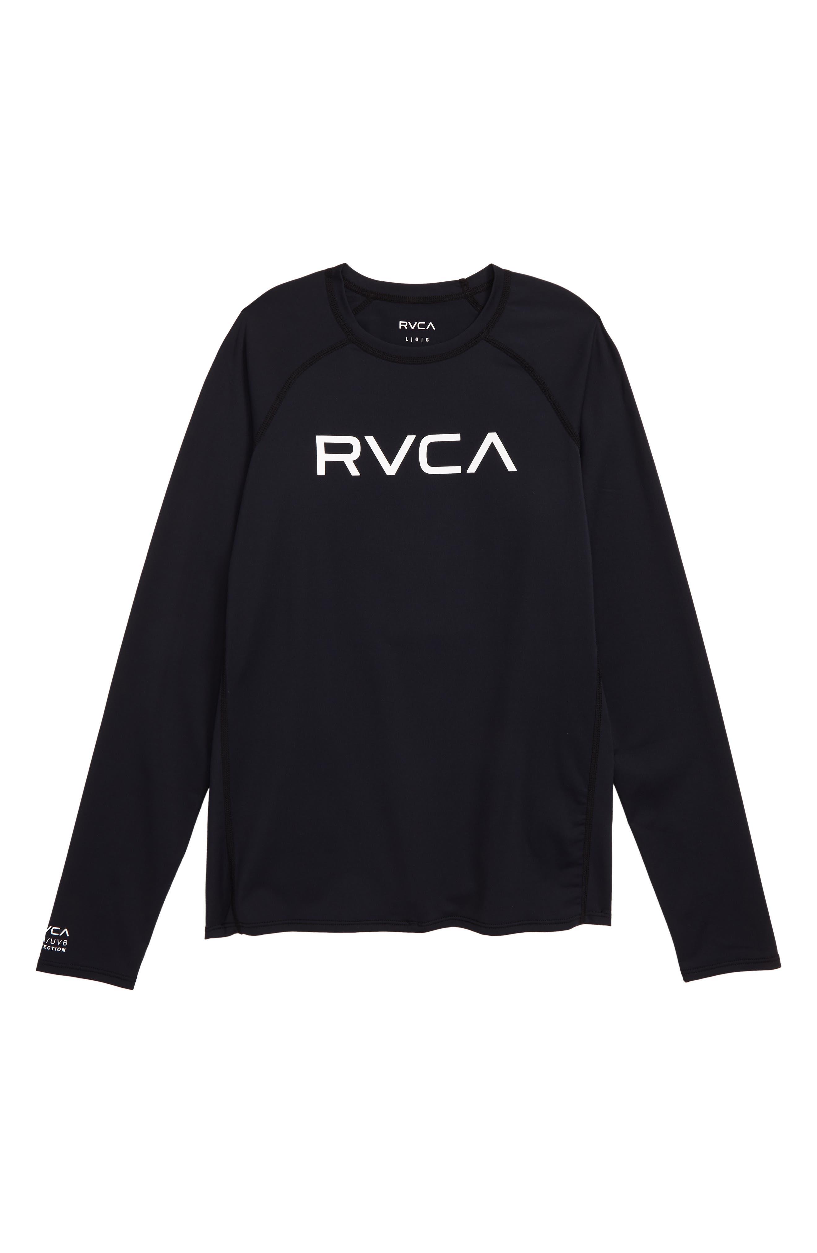 RVCA Long Sleeve Rashguard, Main, color, BLACK/ WHITE