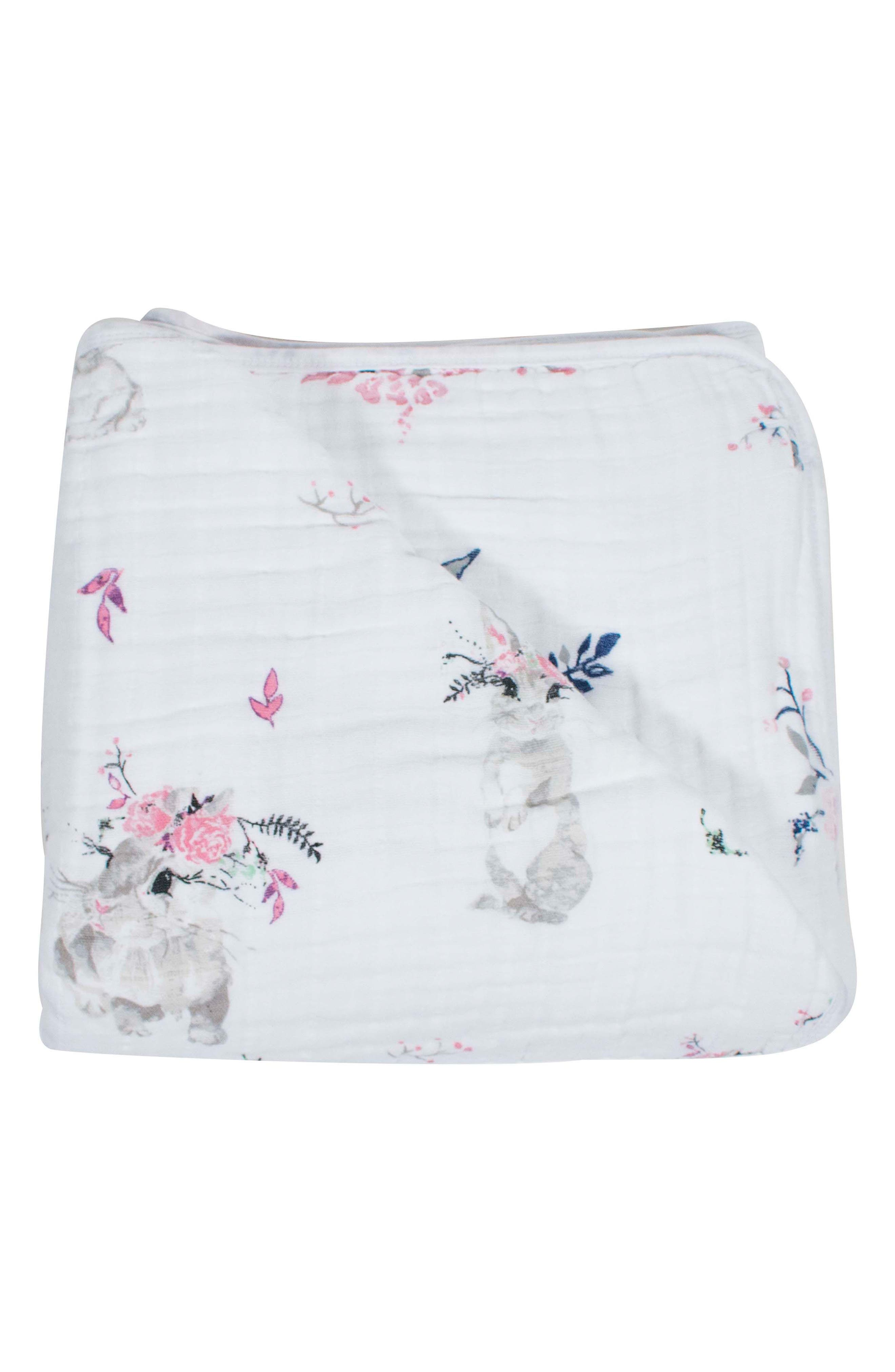 Classic Cotton Muslin Snuggle Blanket,                             Main thumbnail 1, color,                             BUNY TAILS/ GARLAND