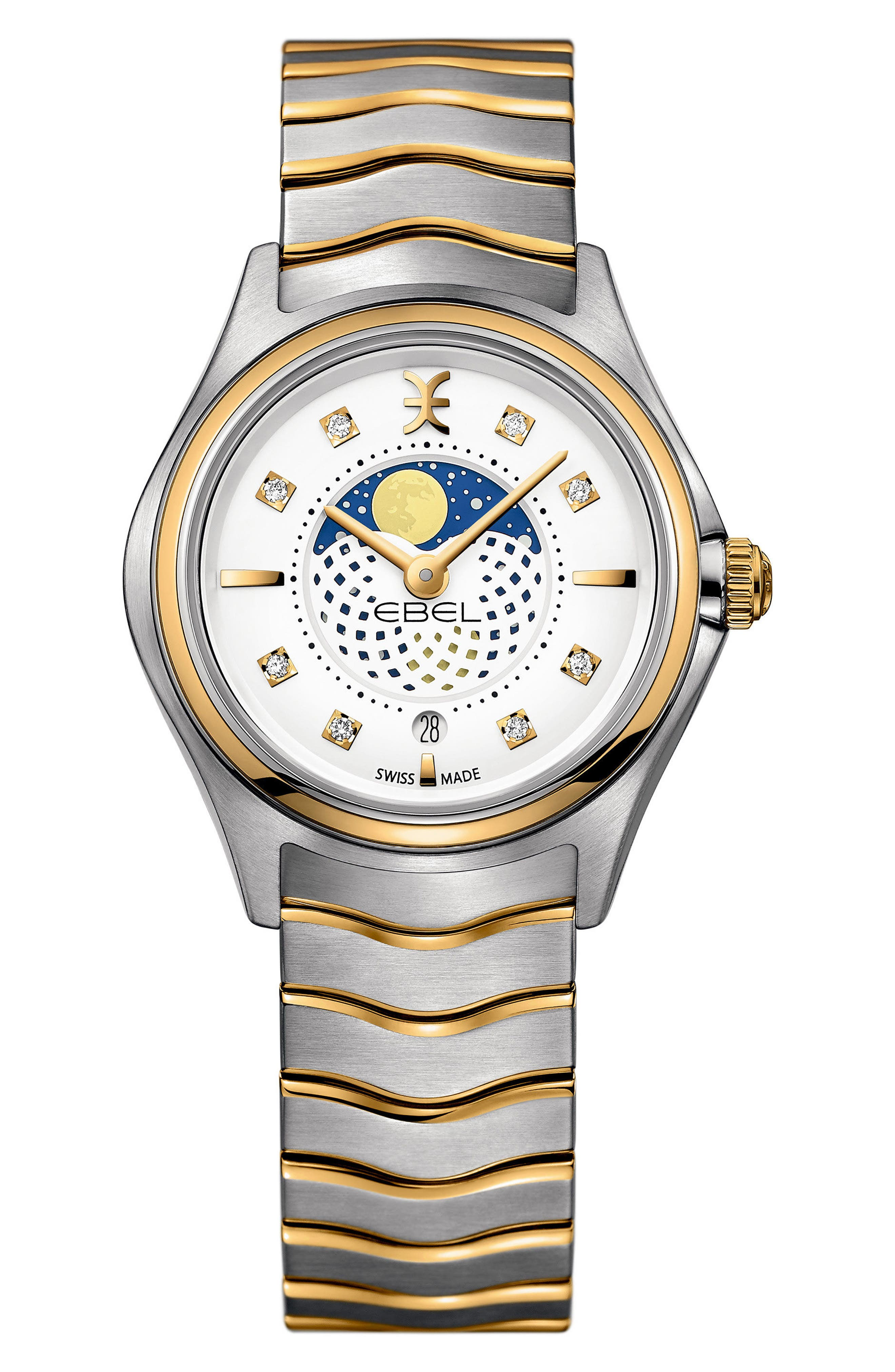 Moonphase Wave Bracelet Watch, 30mm,                         Main,                         color, SILVER/ WHITE/ GOLD
