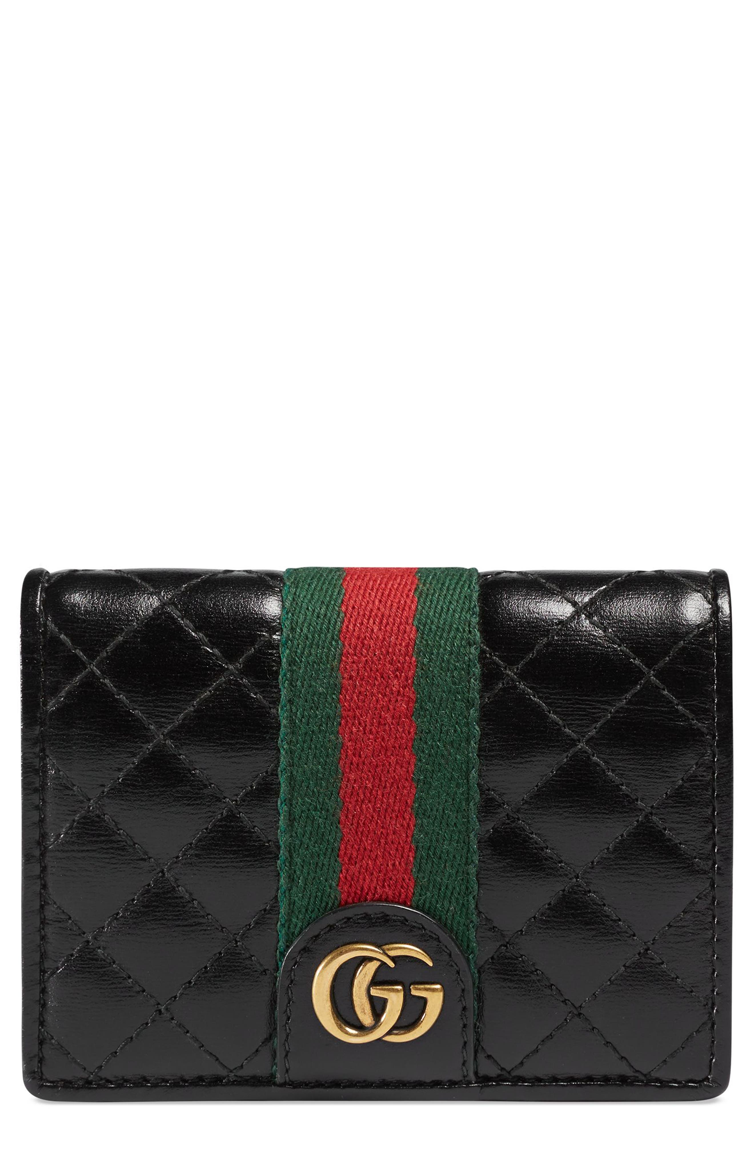 Quilted Leather Card Case,                         Main,                         color, NERO/ VERT/ RED