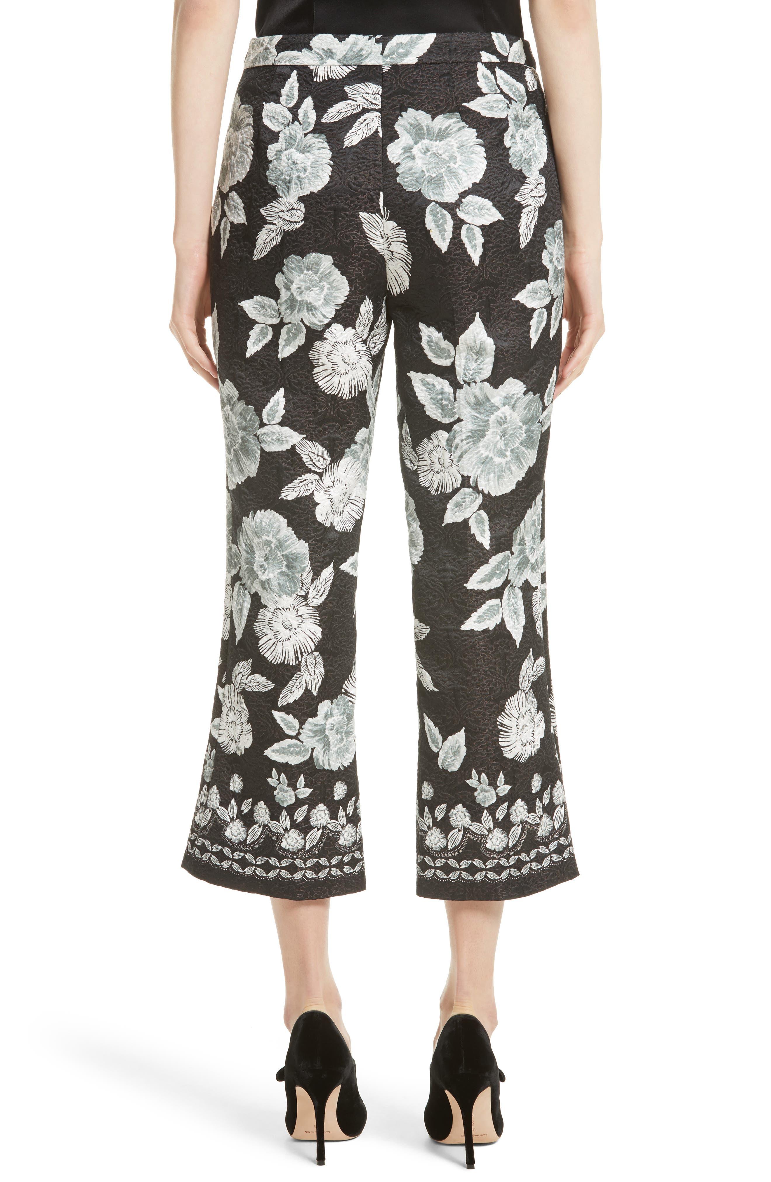 Textured Floral Print Capri Pants,                             Alternate thumbnail 2, color,                             001