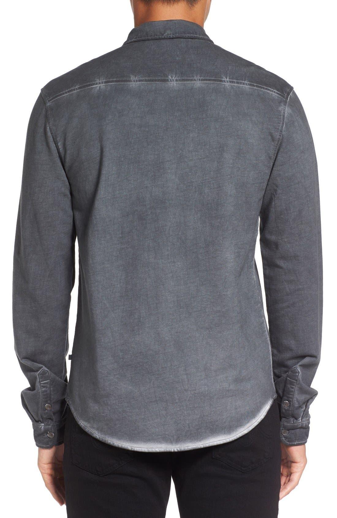 Slim Fit Garment Washed Sport Shirt,                             Alternate thumbnail 5, color,