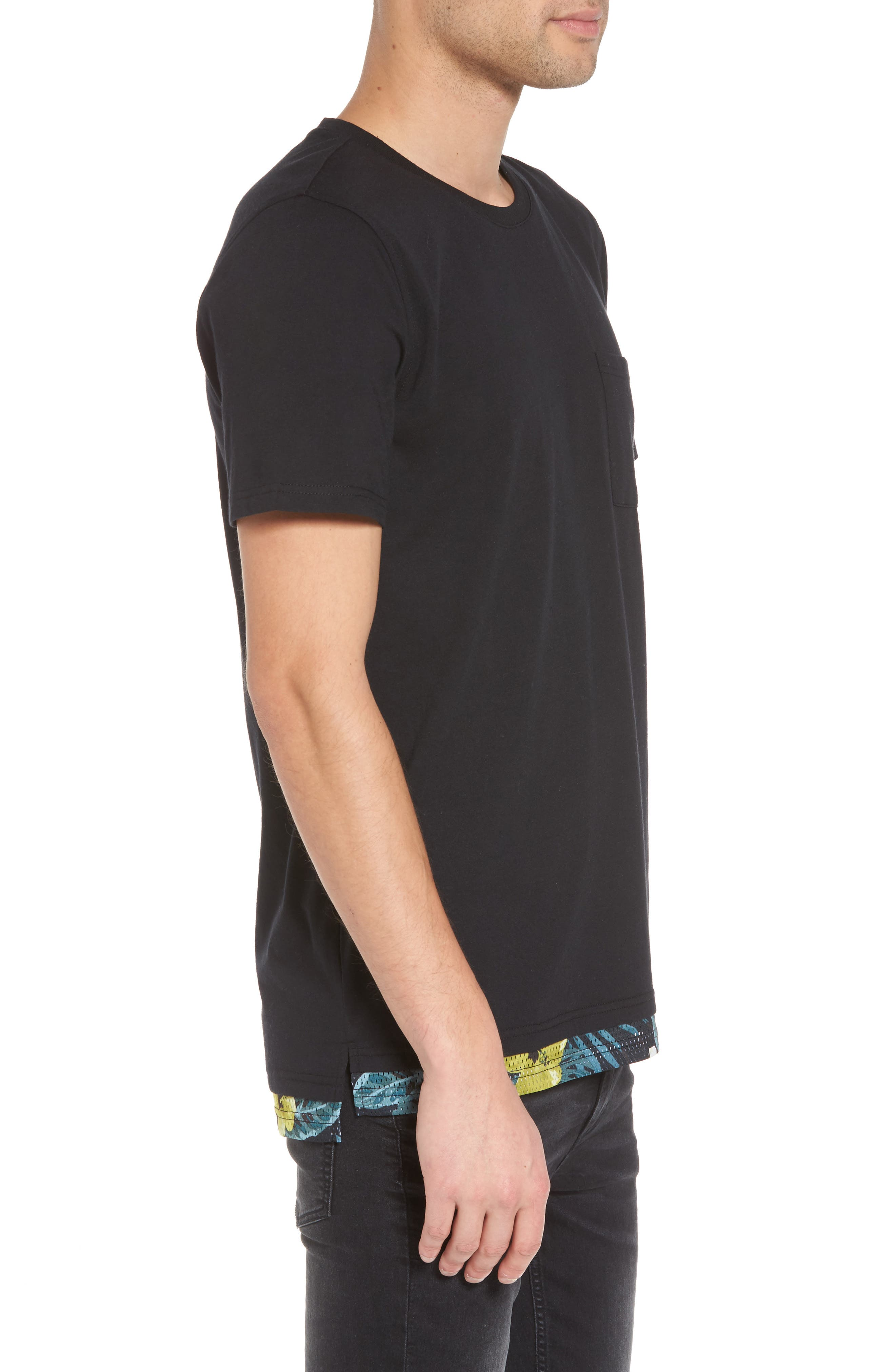 Contrast Mesh Layered T-Shirt,                             Alternate thumbnail 3, color,                             001
