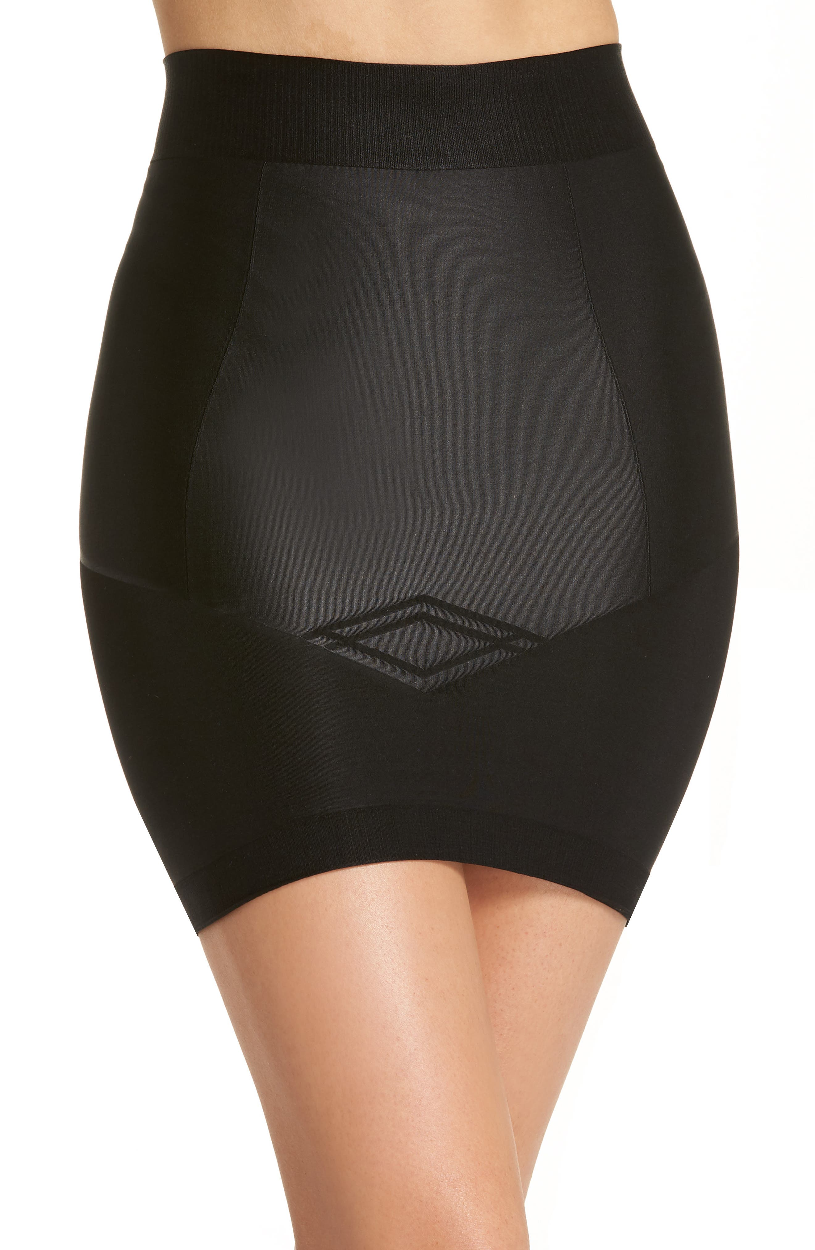 Nouveau Mid Waist Skirt with Built-In Thong,                             Main thumbnail 1, color,                             BLACK