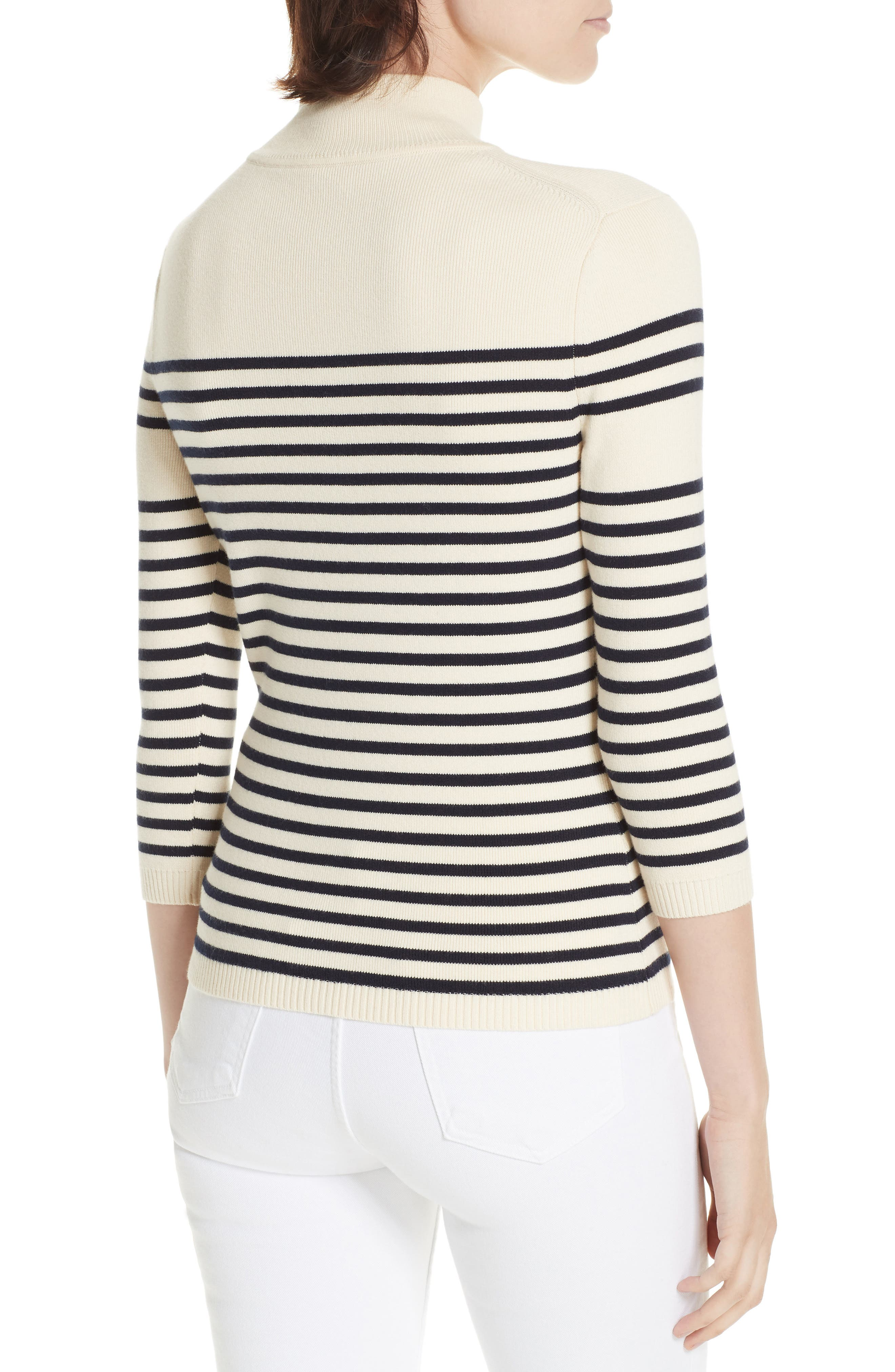 Classique Stripe Sweater,                             Alternate thumbnail 2, color,                             CREAM/ NAVY STRIPES