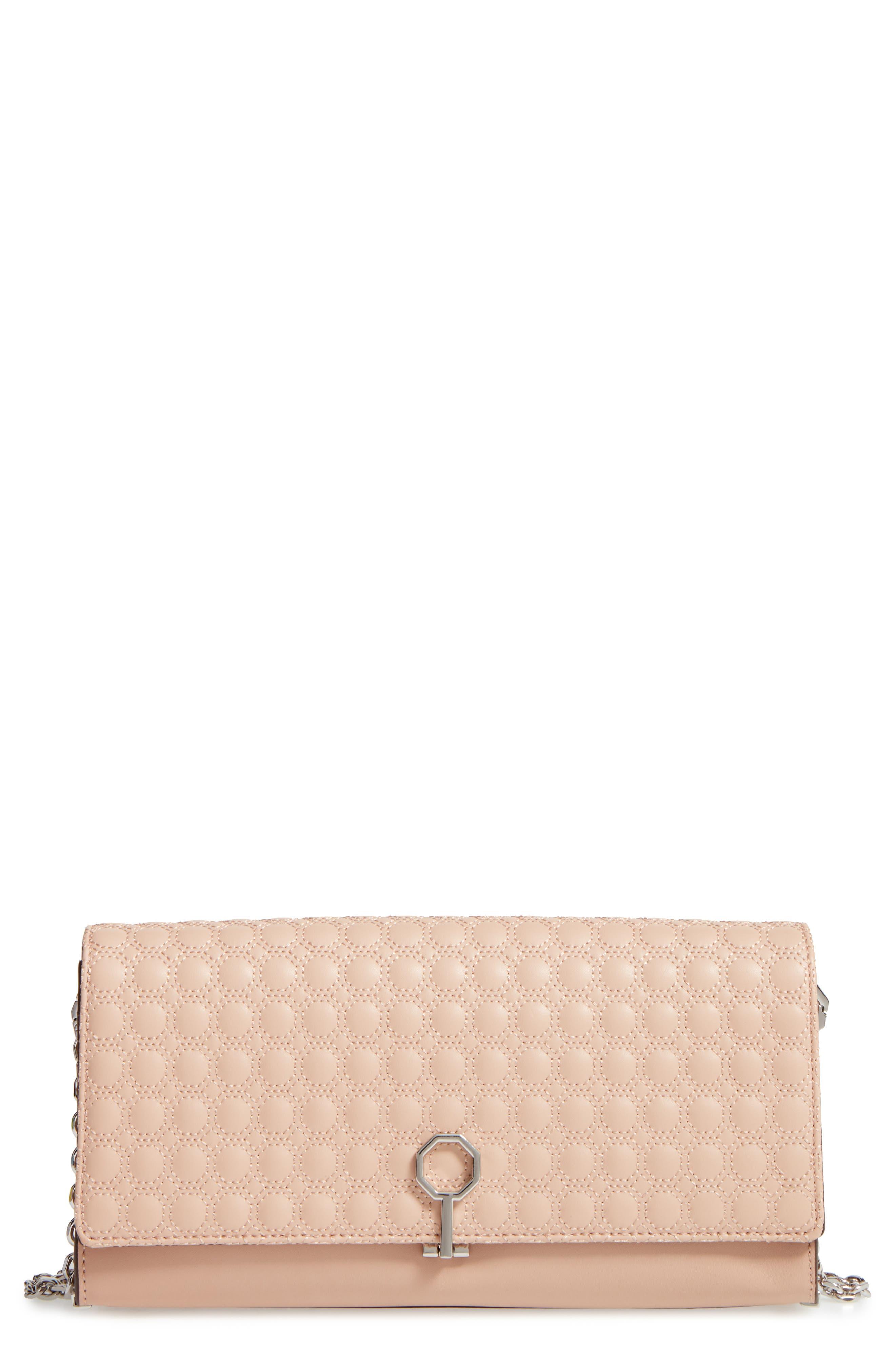 'Yvet' Leather Flap Clutch,                             Main thumbnail 3, color,