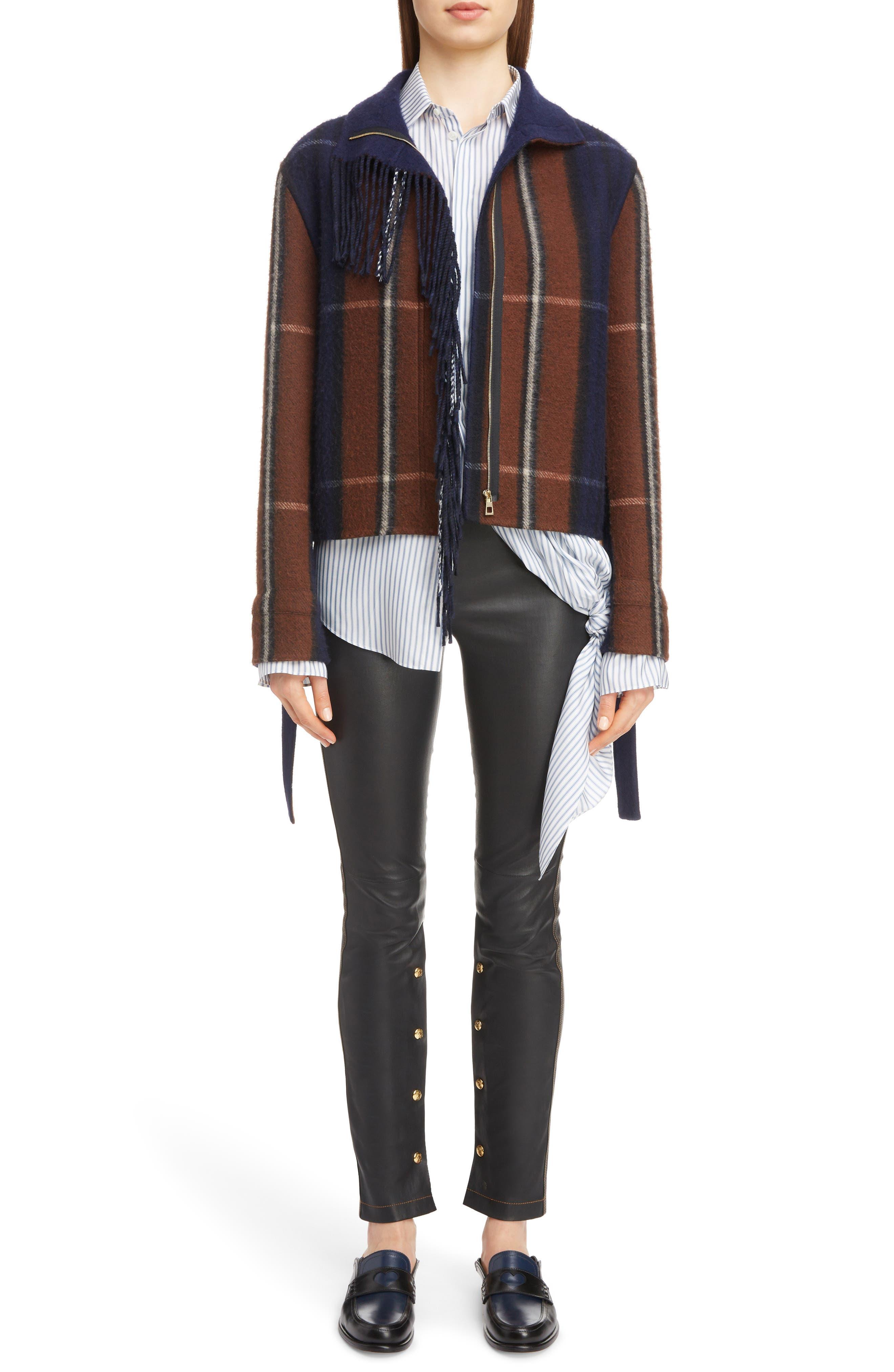 Plaid Fringe Trim Wool & Cashmere Jacket,                             Alternate thumbnail 6, color,                             467