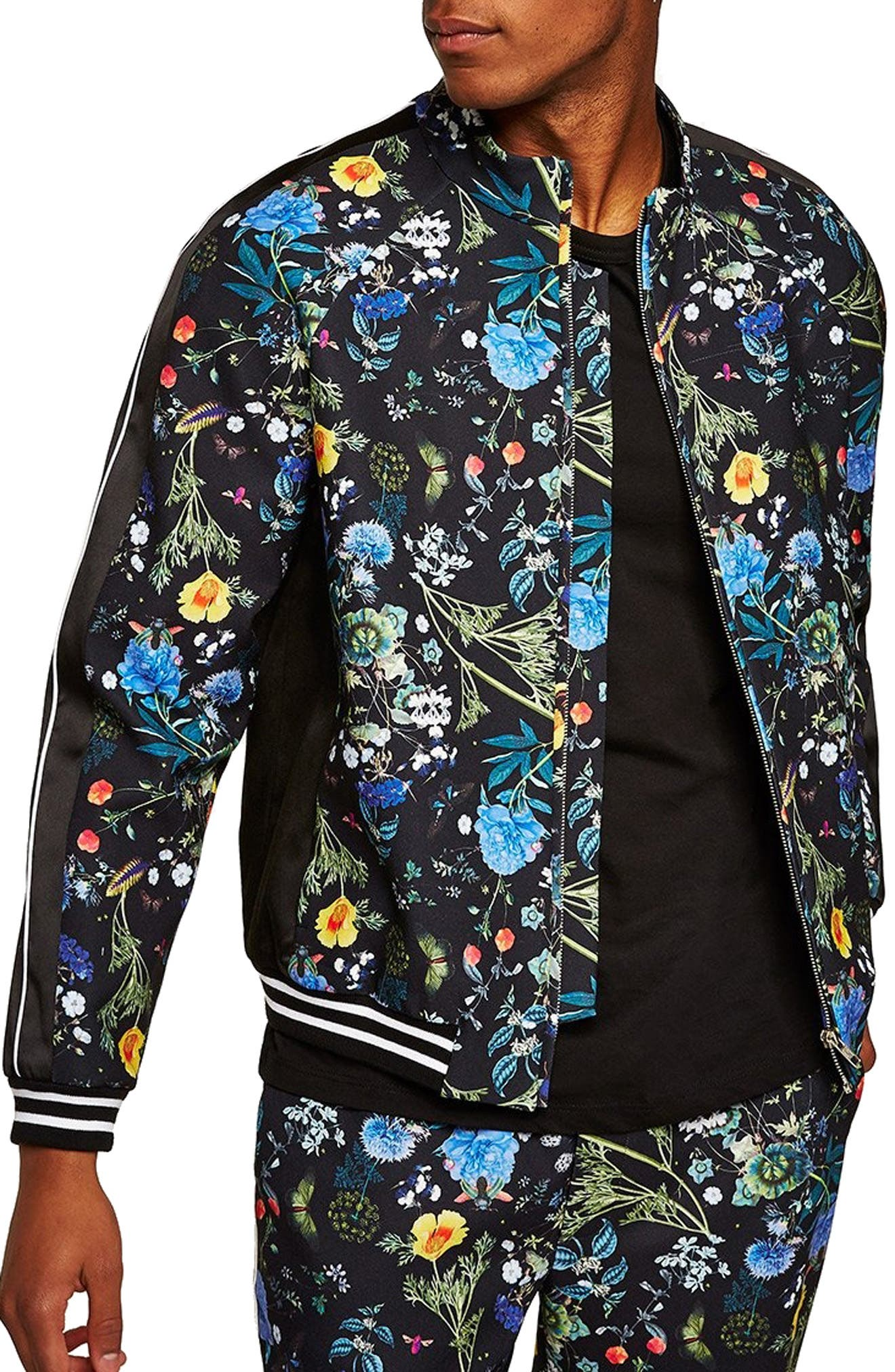 Floral Track Jacket,                             Main thumbnail 1, color,                             BLACK MULTI