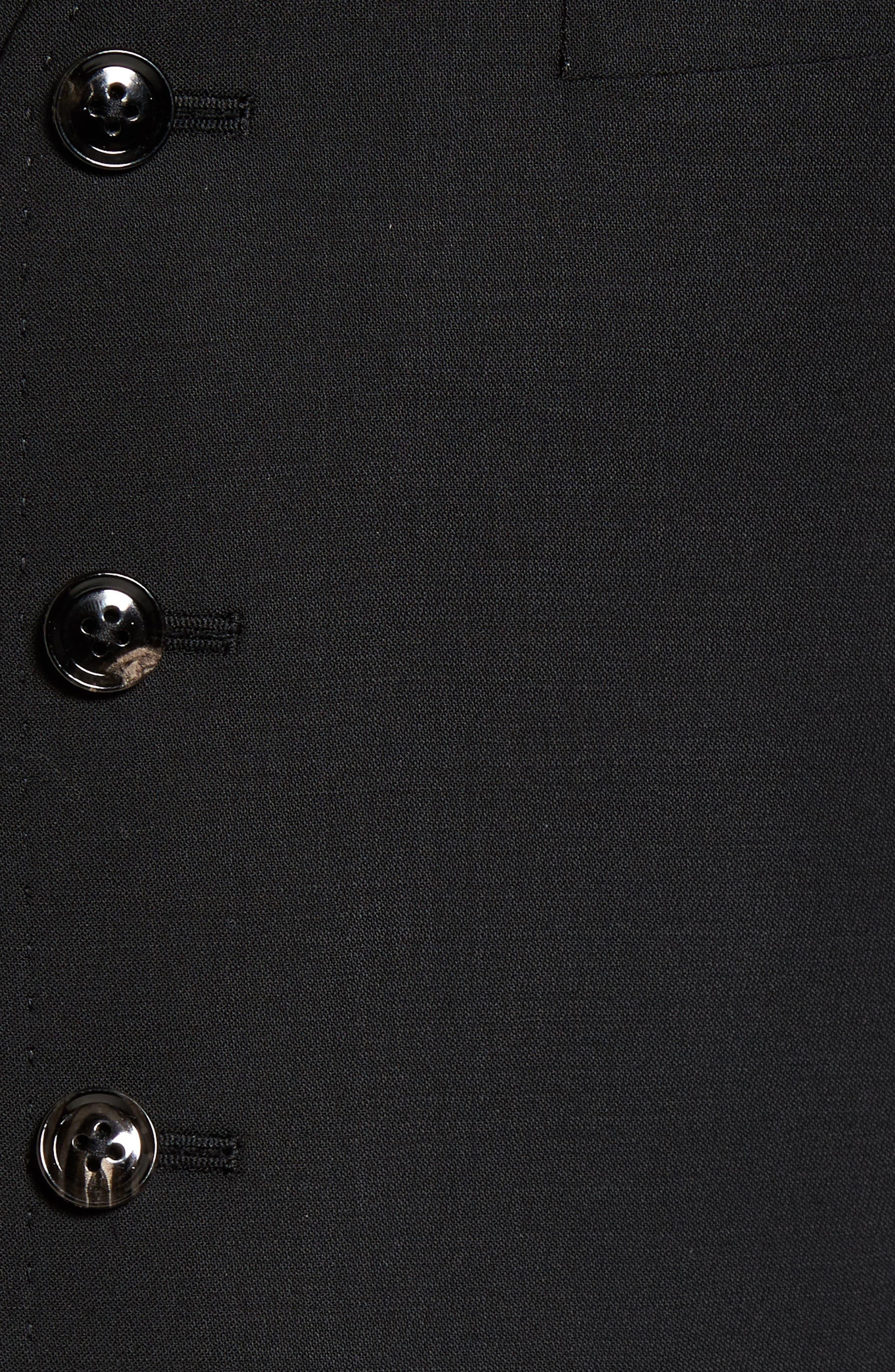 Trim Fit Solid Wool Vest,                             Alternate thumbnail 6, color,                             BLACK