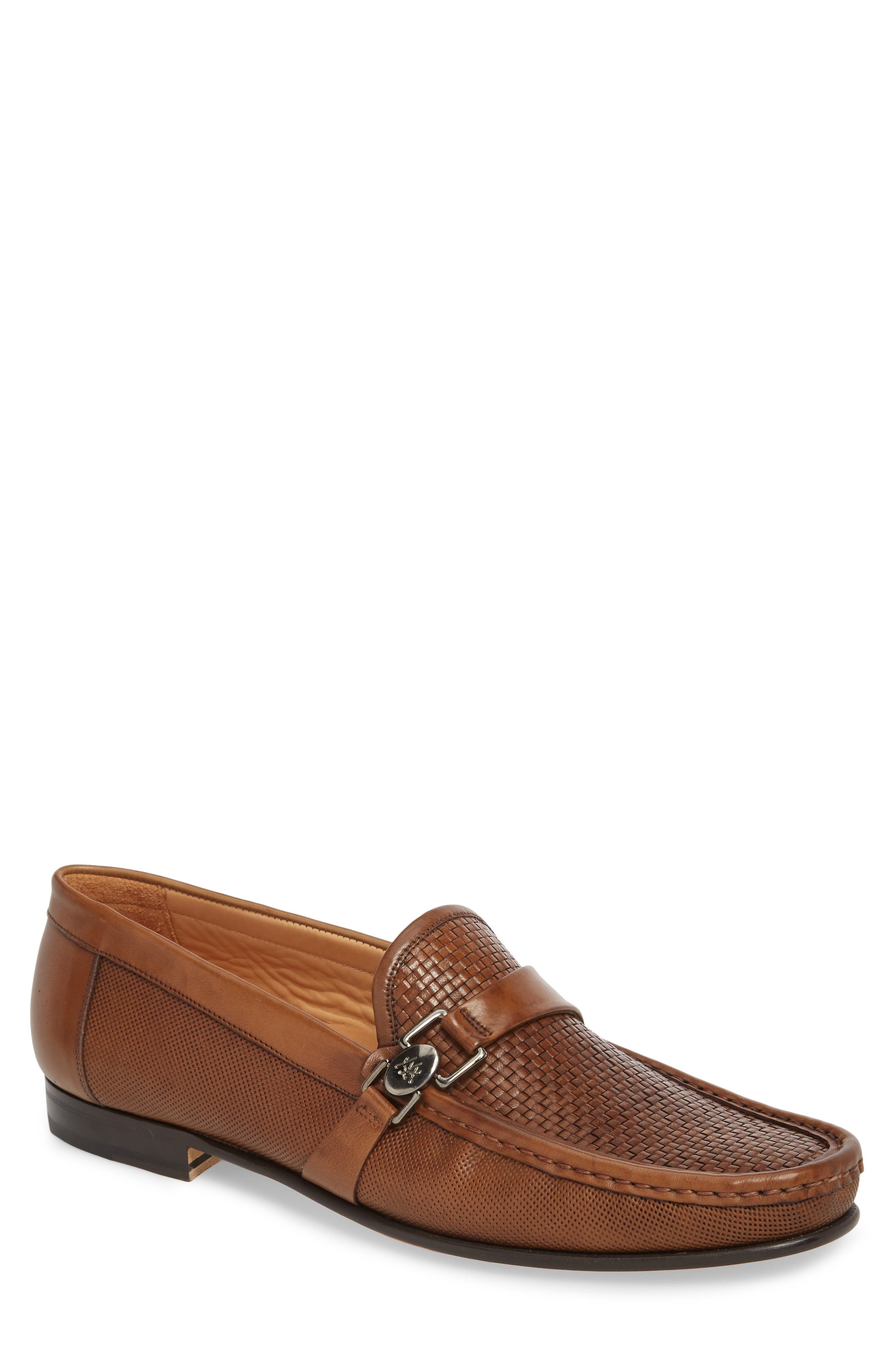 Horatio Woven Moc Toe Loafer,                         Main,                         color, COGNAC LEATHER