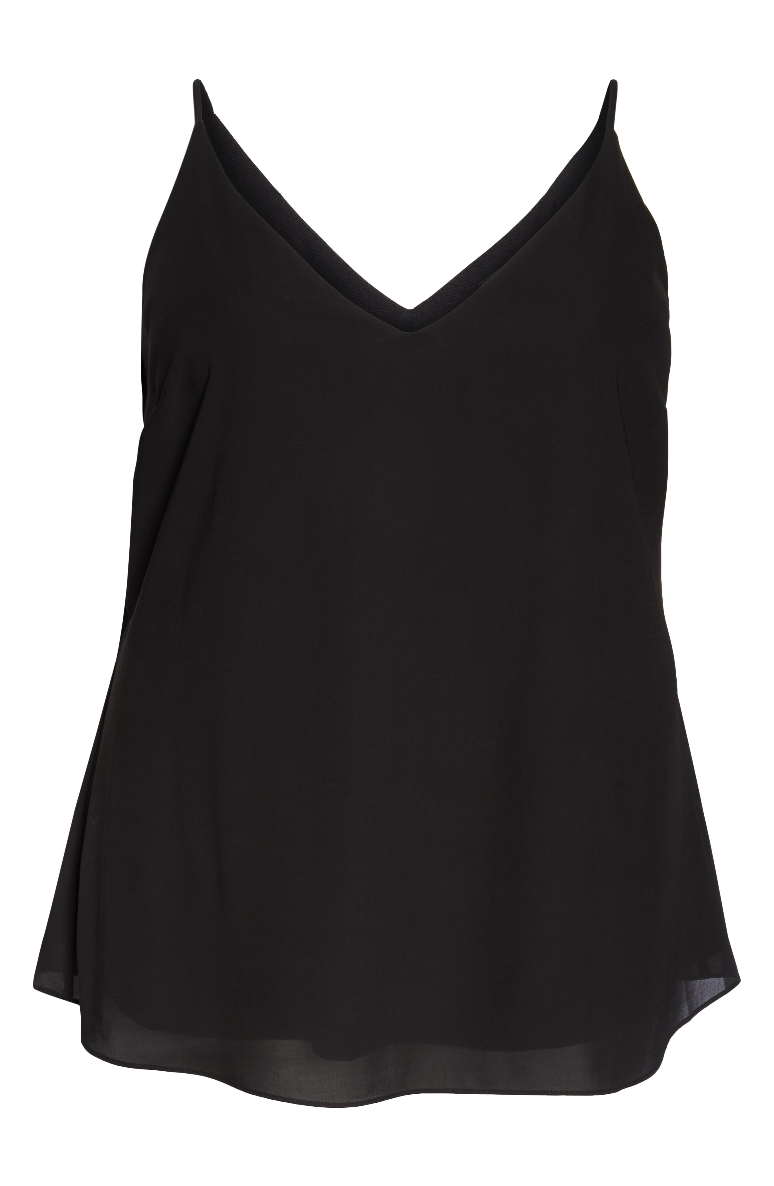 Double Layer V-Neck Camisole Top,                             Alternate thumbnail 2, color,                             BLACK