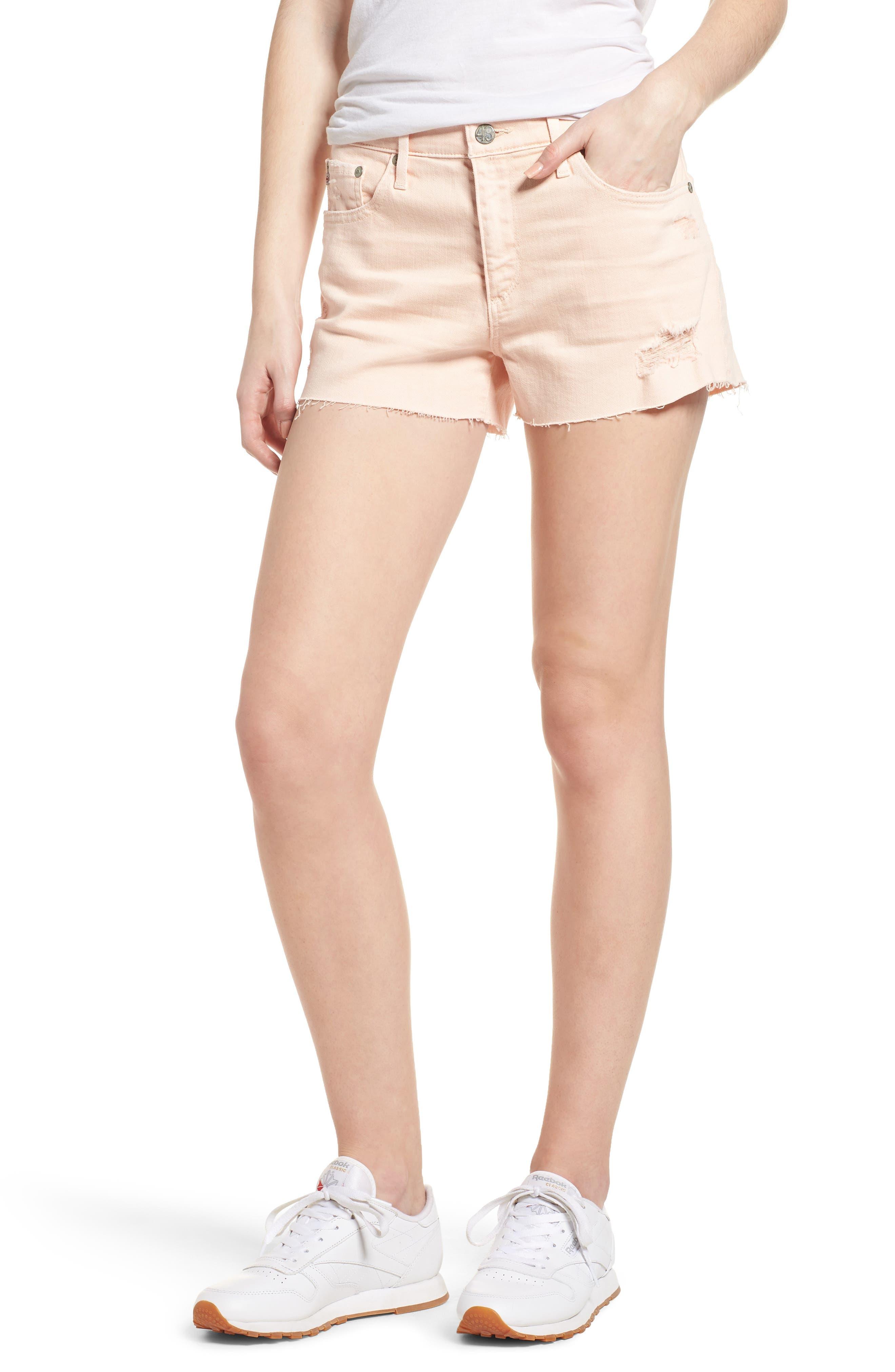 The Bryn High Waist Cutoff Denim Shorts,                             Main thumbnail 3, color,