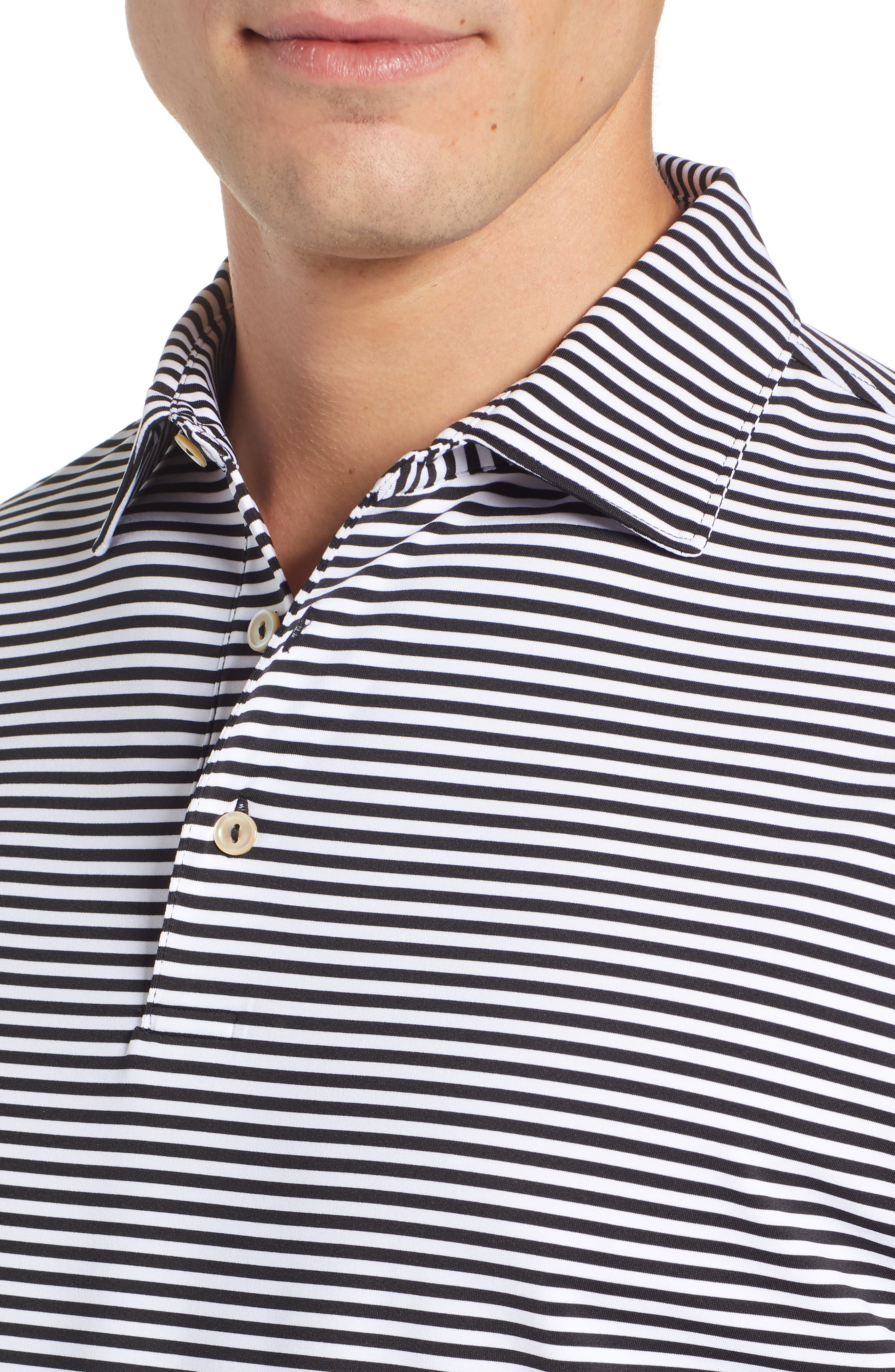 Stripe Stretch Jersey Performance Polo,                             Alternate thumbnail 4, color,                             BLACK/WHITE