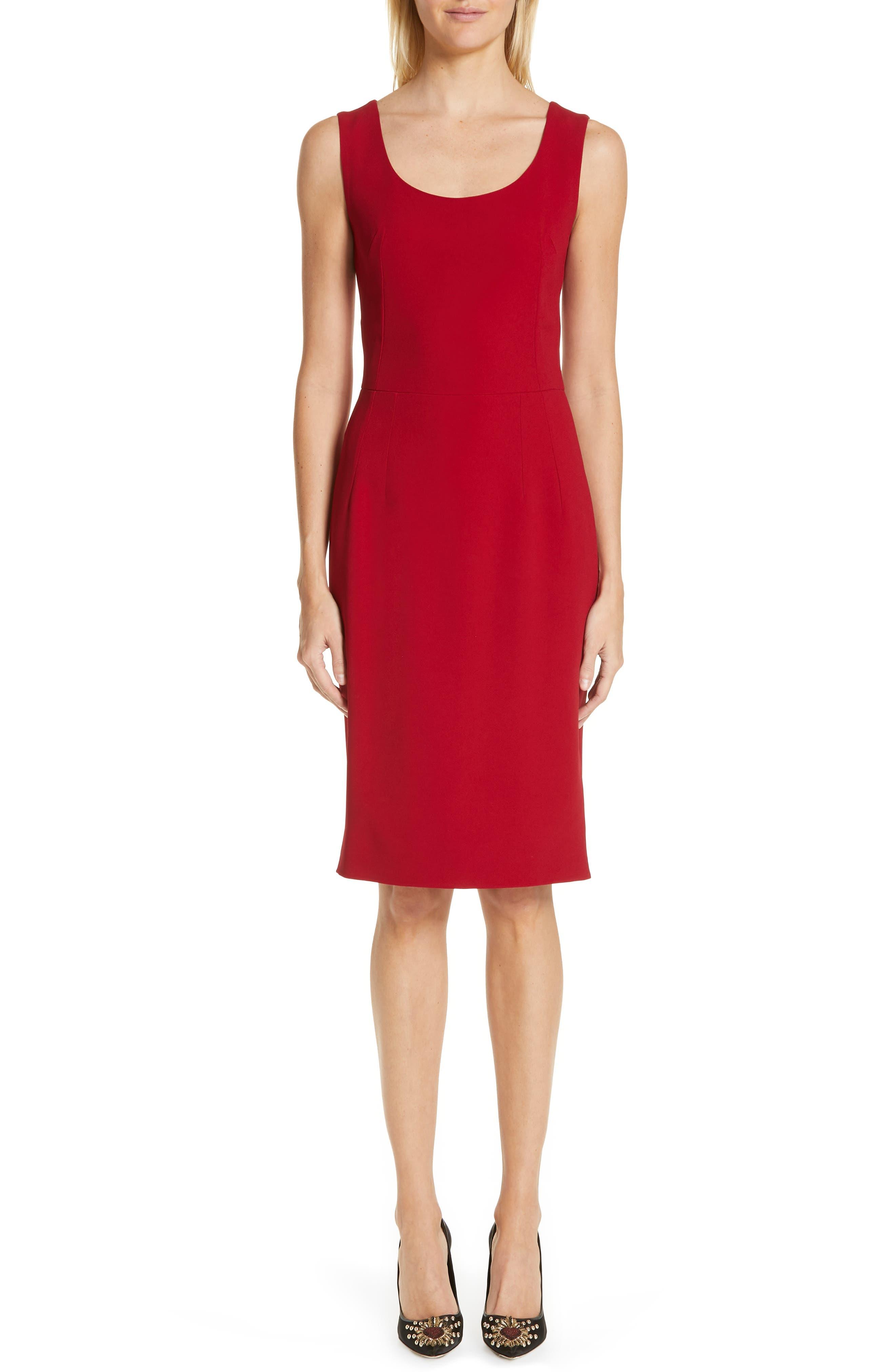 Dolce & gabbana Cady Pencil Dress, US / 46 IT - Burgundy