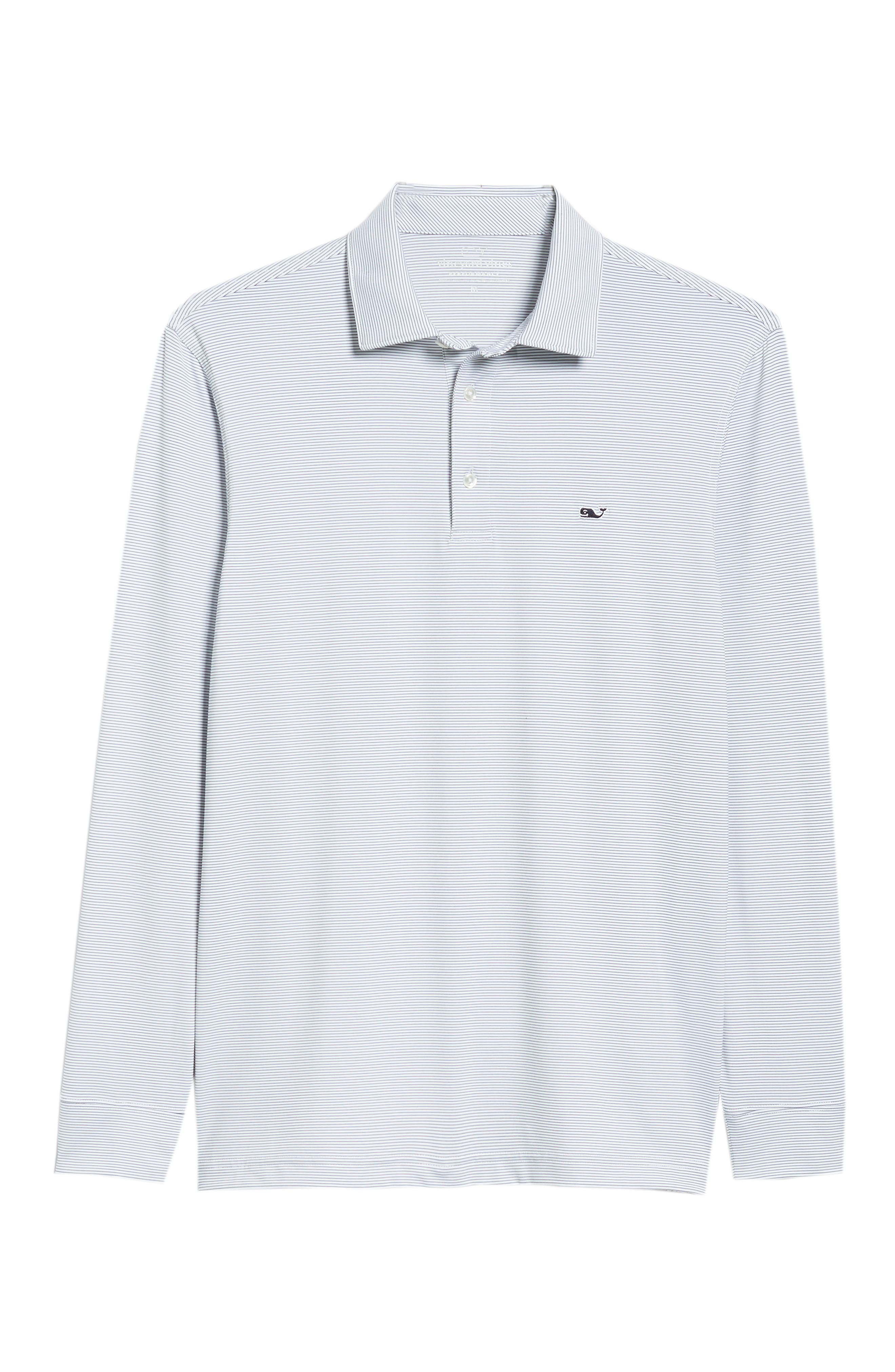 Stripe Long Sleeve Regular Fit Polo,                             Alternate thumbnail 6, color,                             100