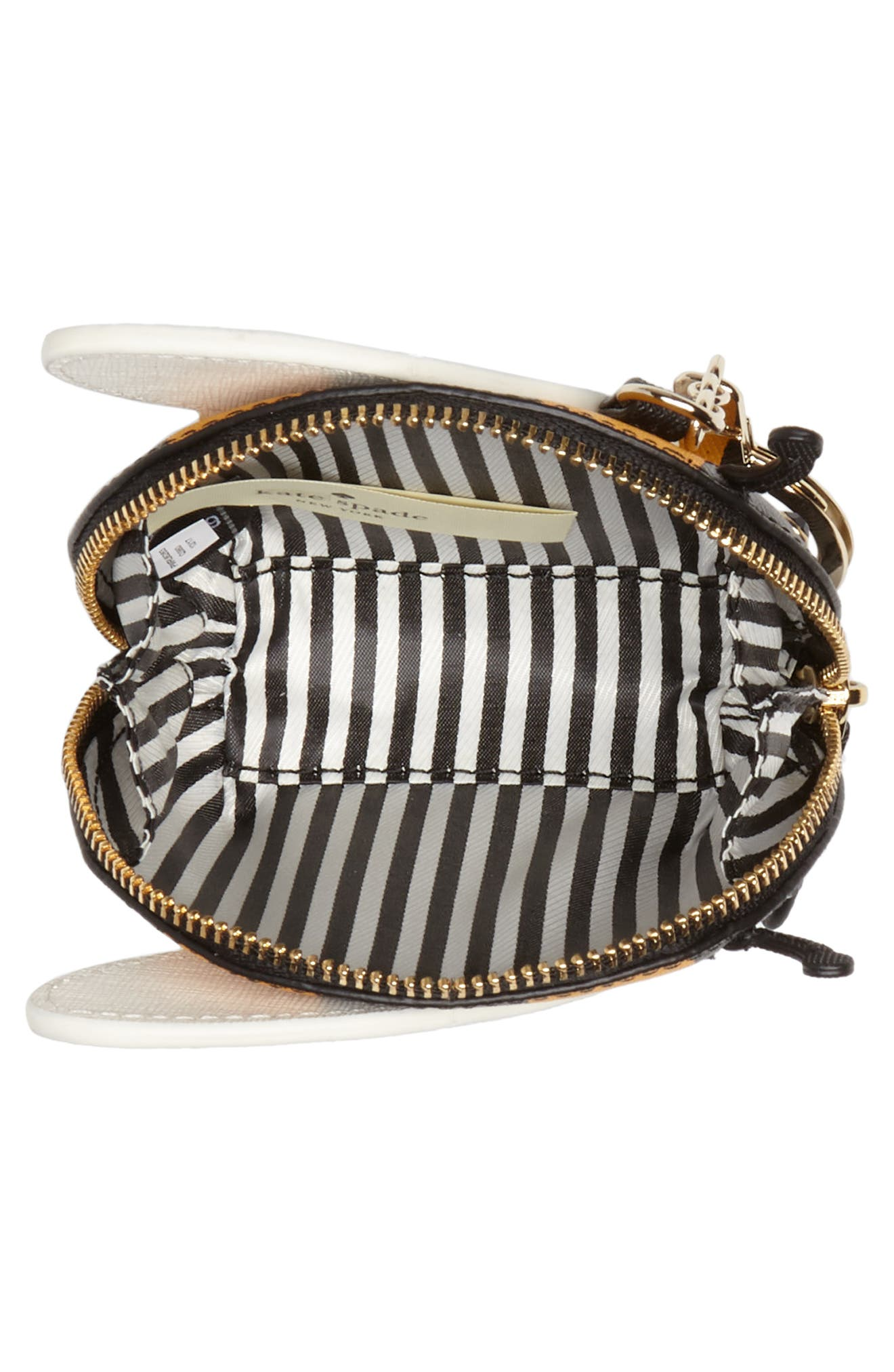 picnic perfect bee stripe leather coin purse,                             Alternate thumbnail 2, color,