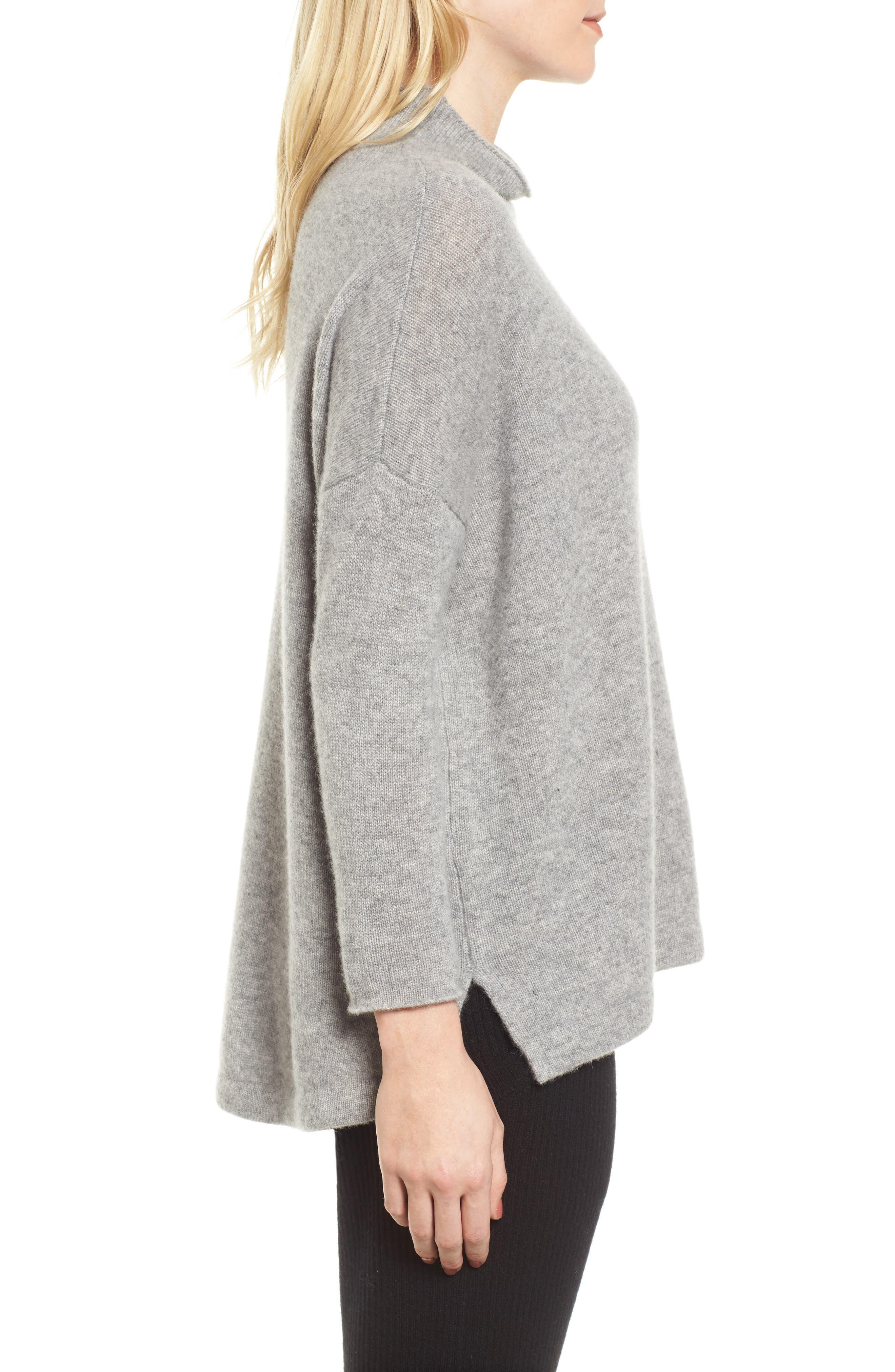 Mock Neck Cashmere Sweater,                             Alternate thumbnail 3, color,                             086