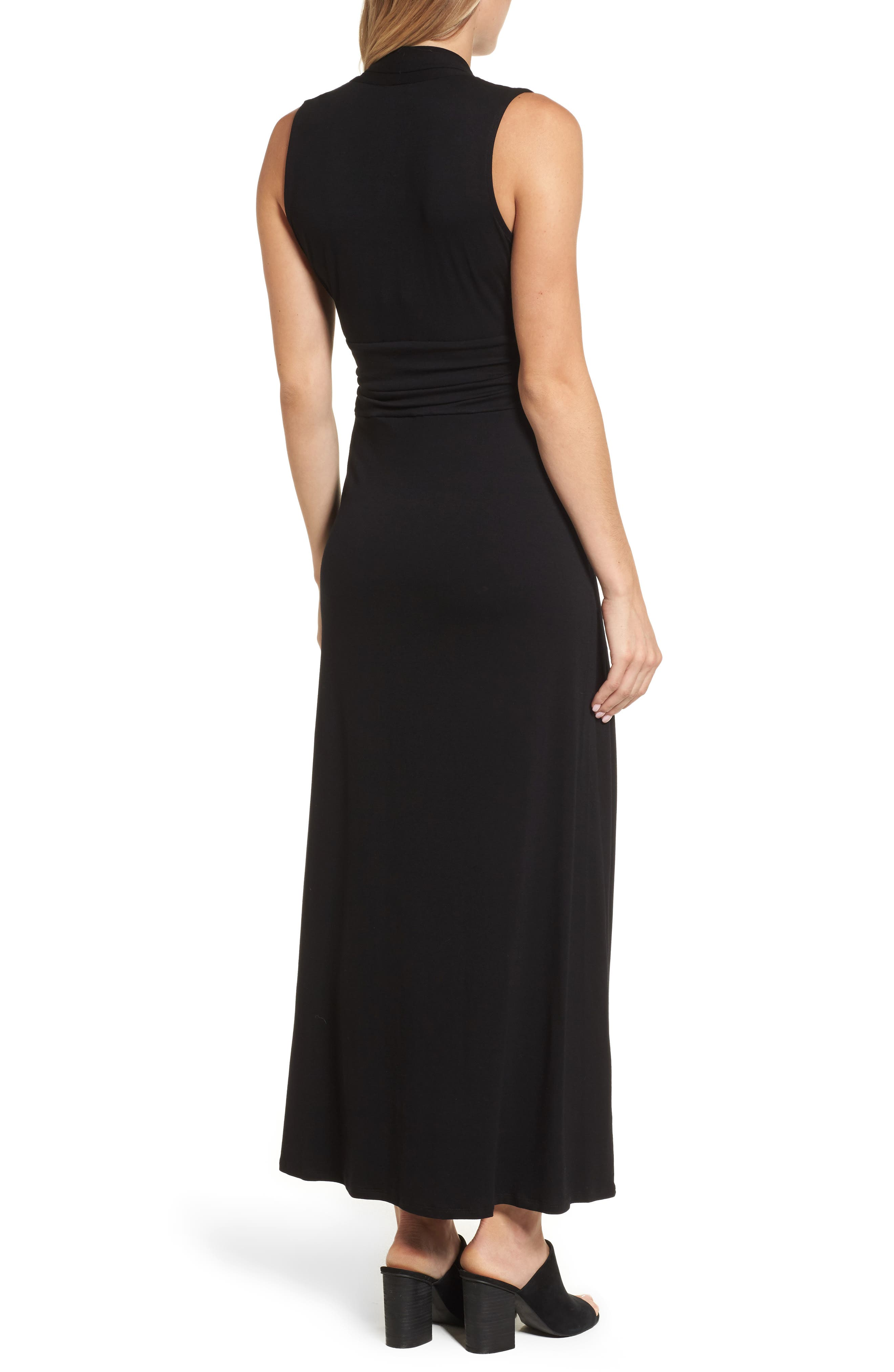 V-Neck Maxi Dress,                             Alternate thumbnail 3, color,                             RICH BLACK