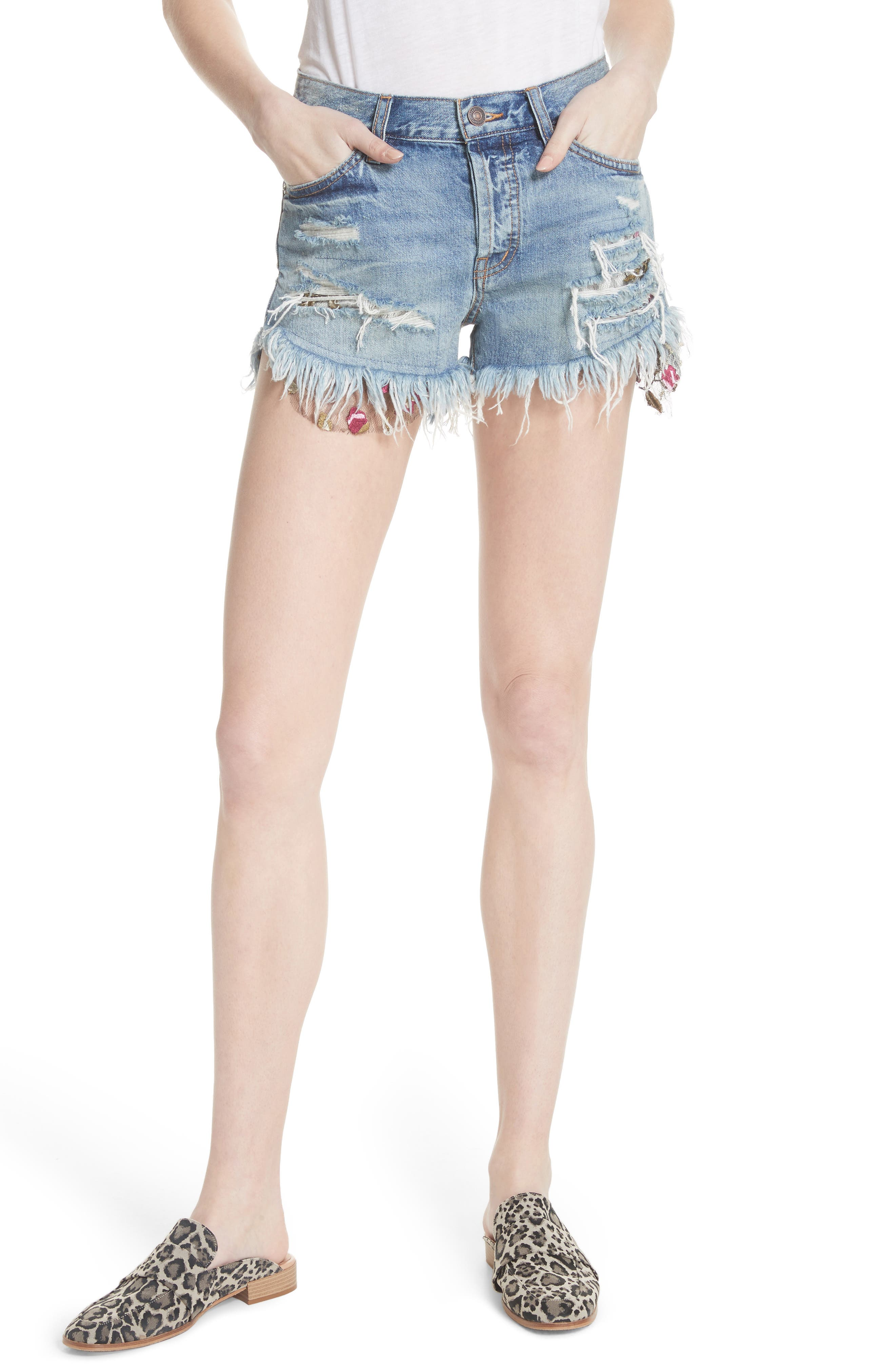 Embroidered Ripped Shorts,                             Main thumbnail 1, color,                             400