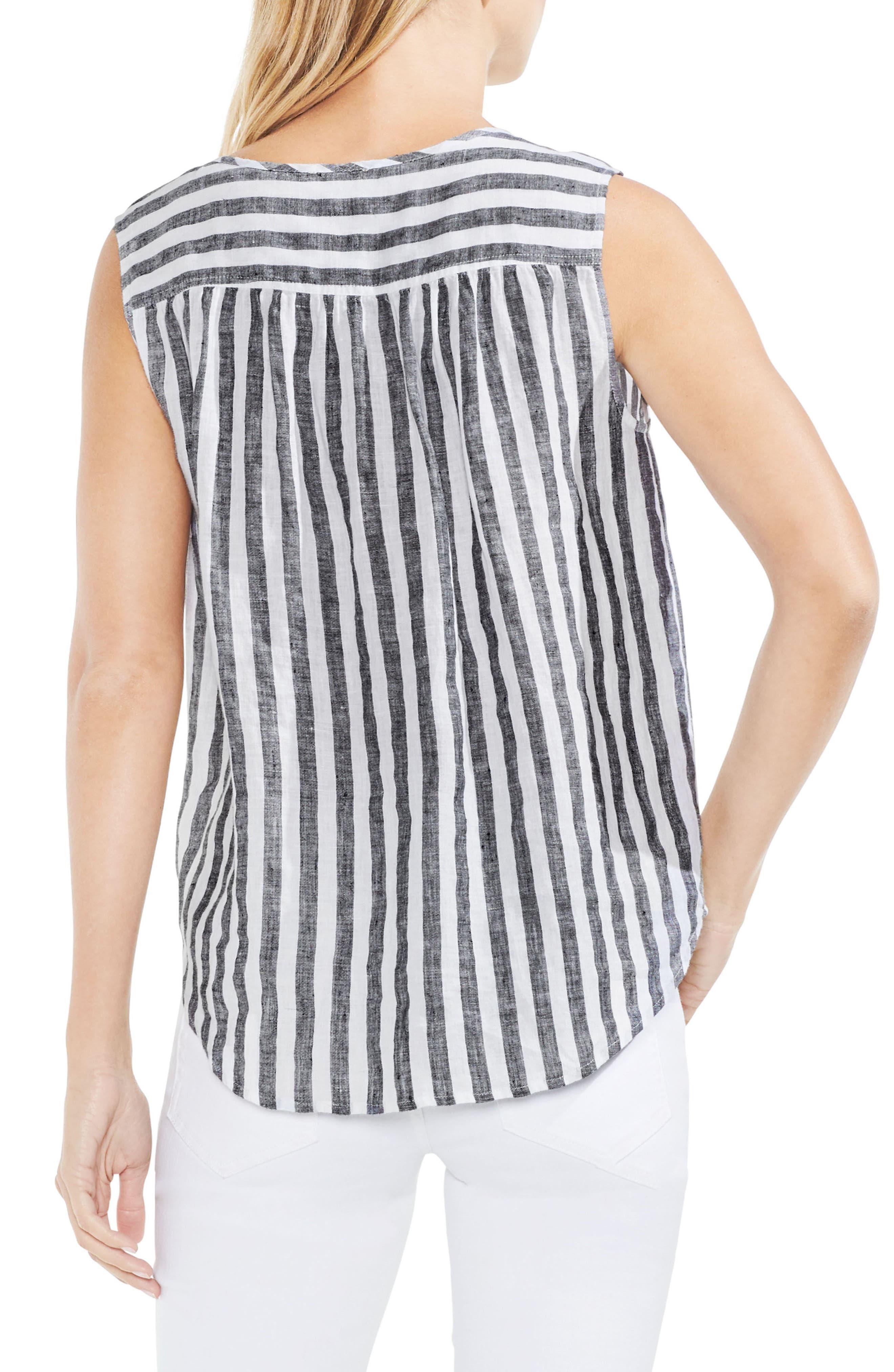 Resort Stripe Tie Neck Blouse,                             Alternate thumbnail 3, color,
