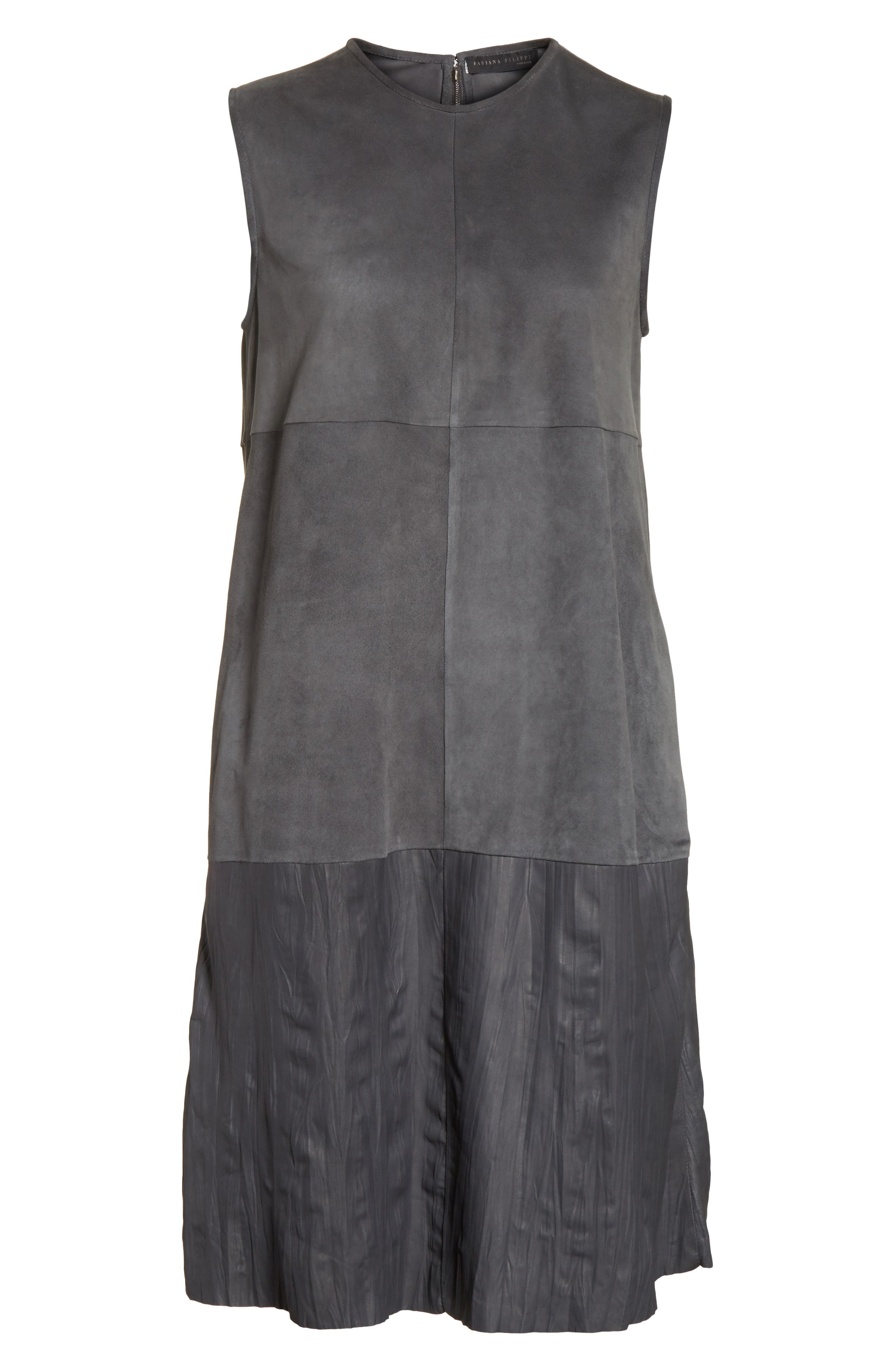 Suede & Crinkled Leather Dress,                             Alternate thumbnail 6, color,