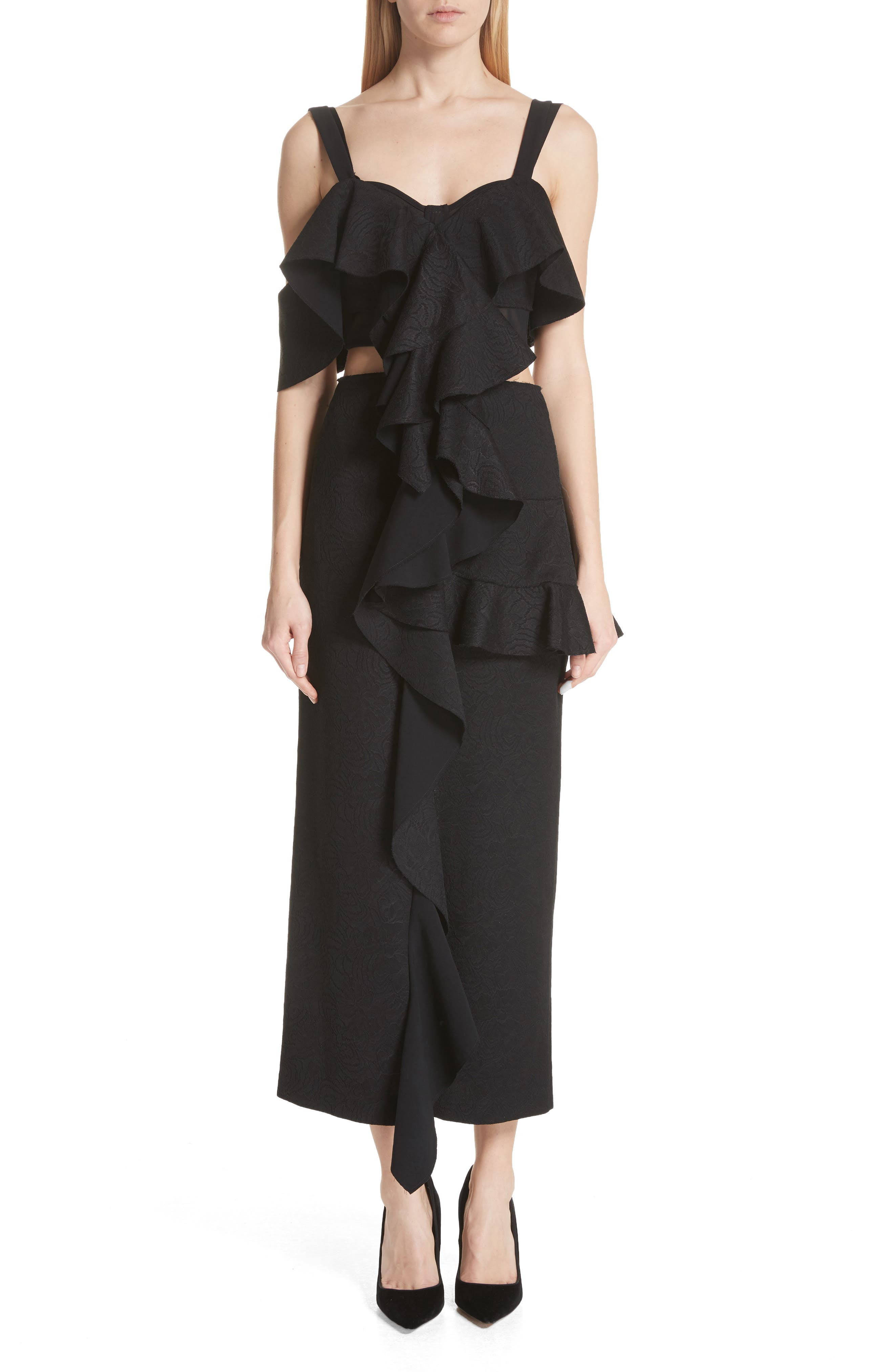 Ruffle Midi Dress,                         Main,                         color, 001