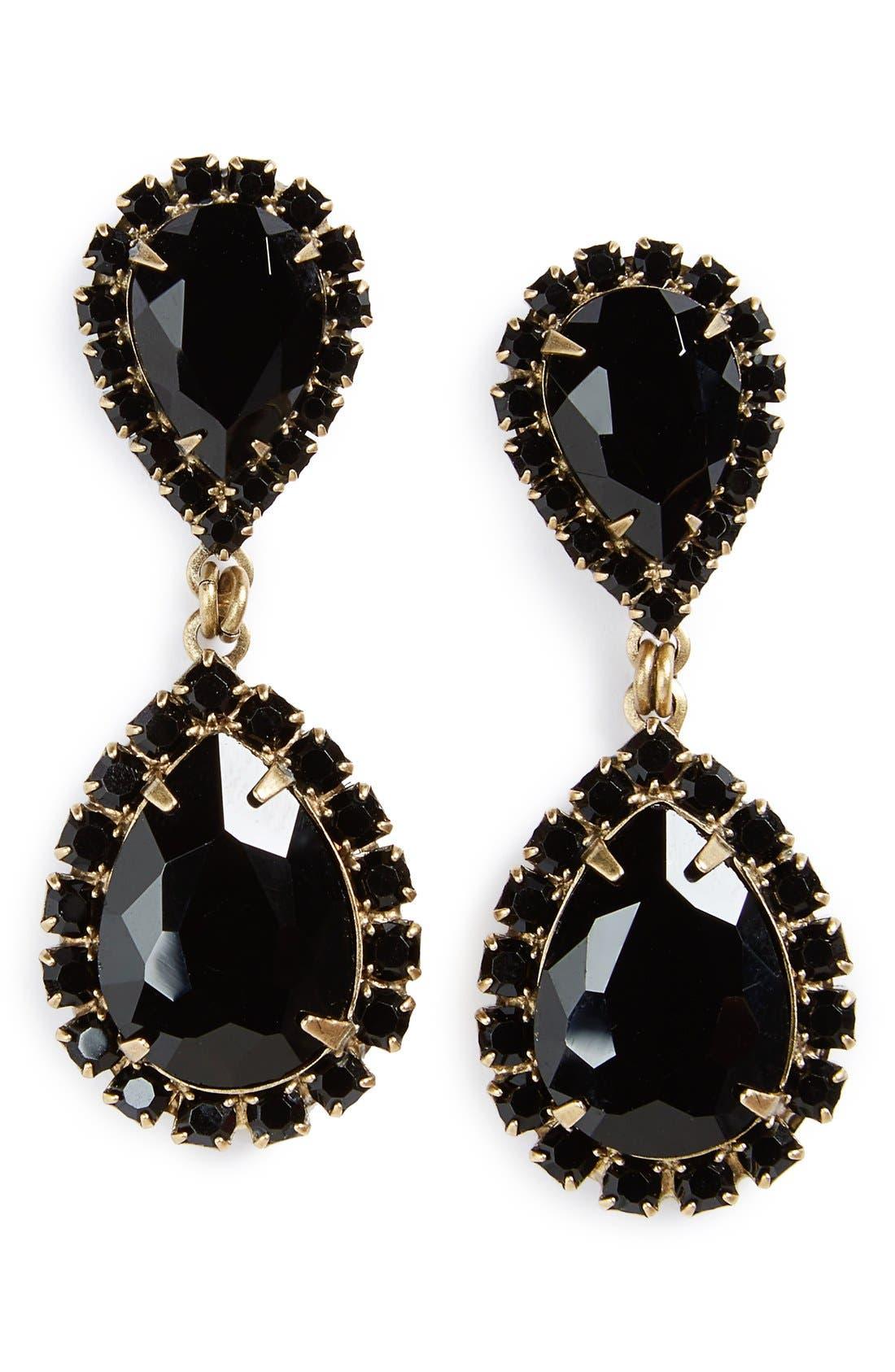 Abba Crystal Drop Earrings,                             Main thumbnail 1, color,                             JET