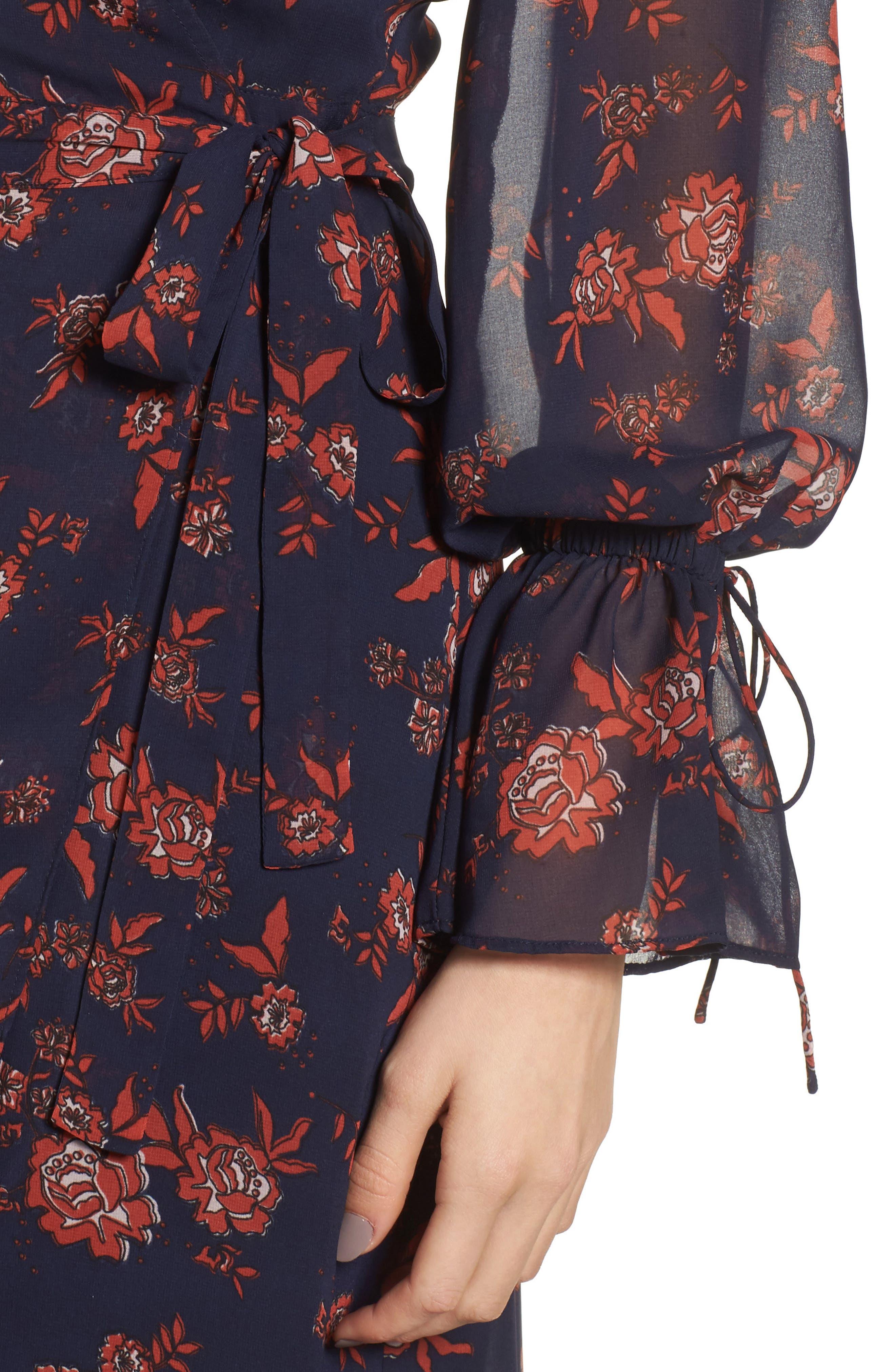 Capital Floral Wrap Maxi Dress,                             Alternate thumbnail 4, color,                             413