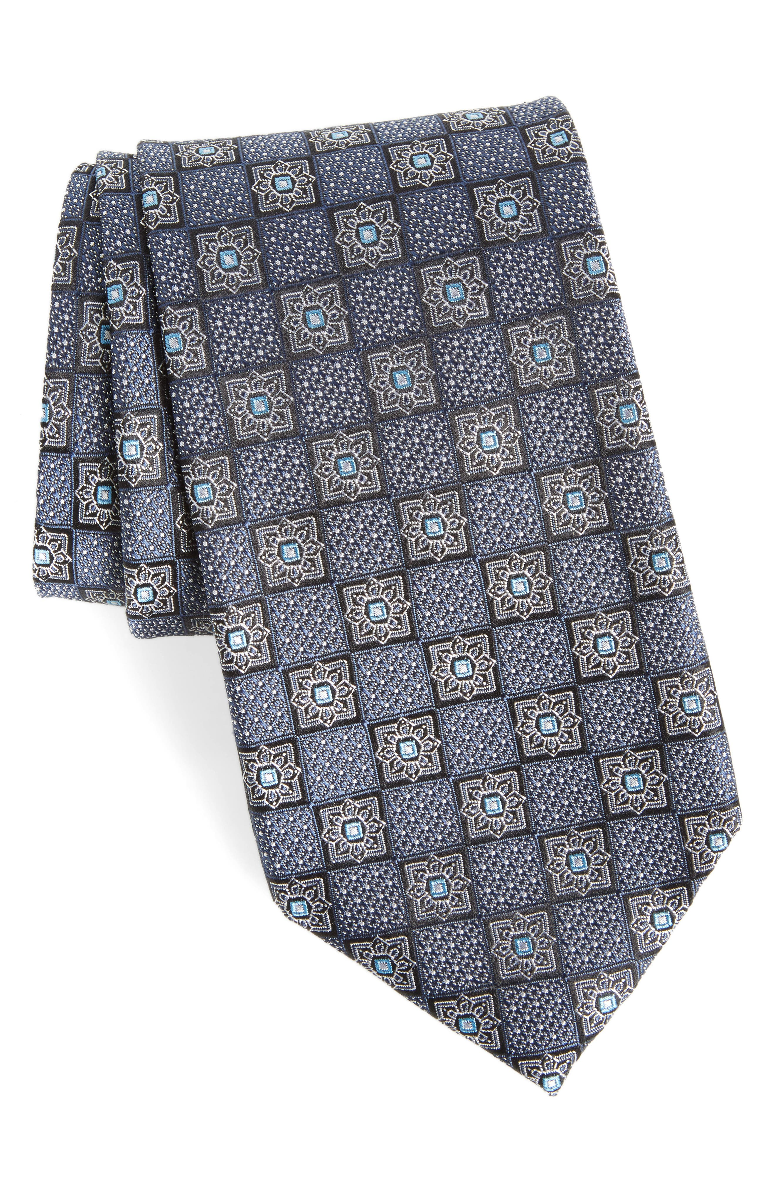 Settala Medallion Silk Tie,                         Main,                         color, 001