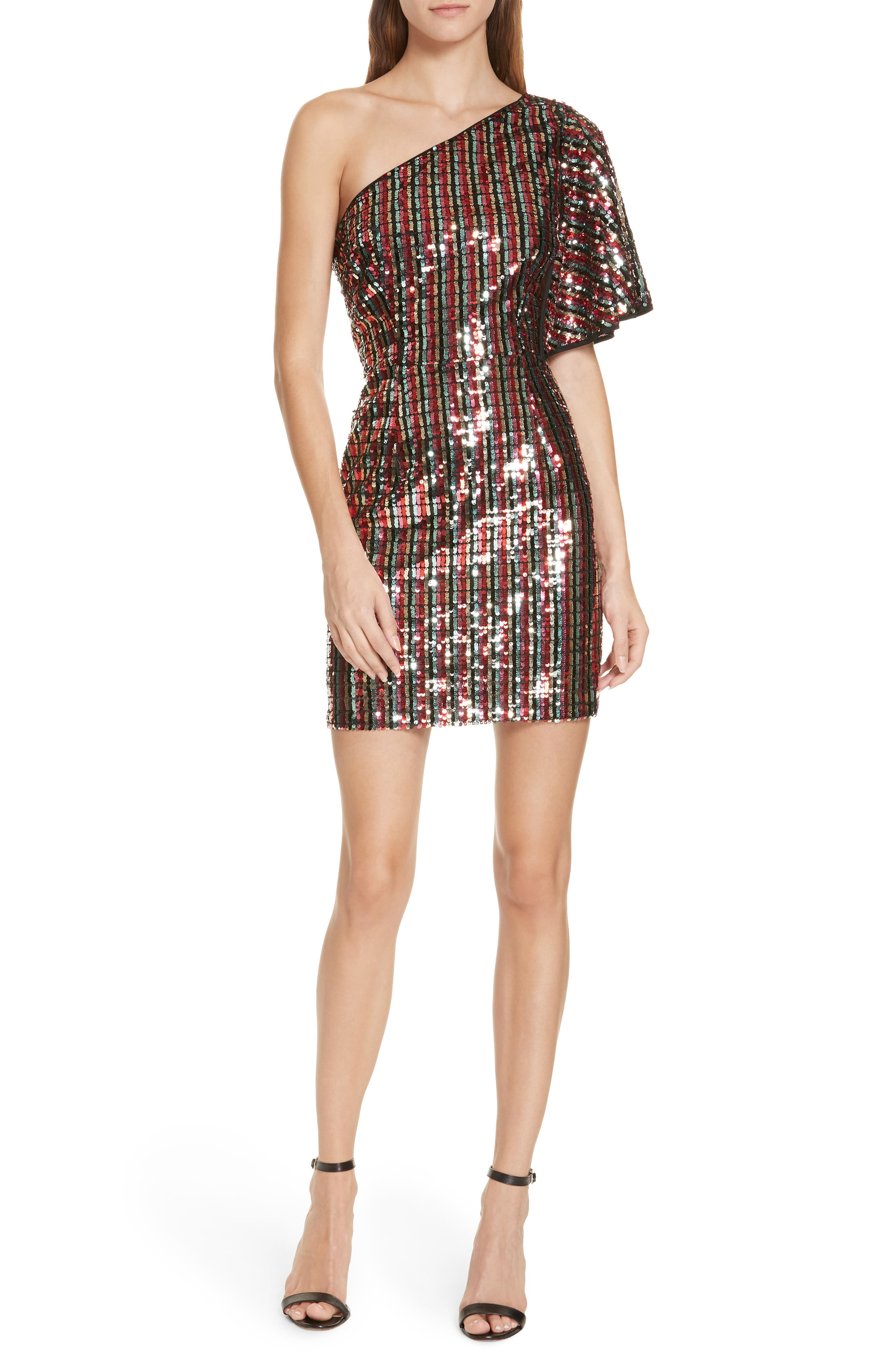 One Shoulder Sequin Dress,                             Main thumbnail 1, color,                             001