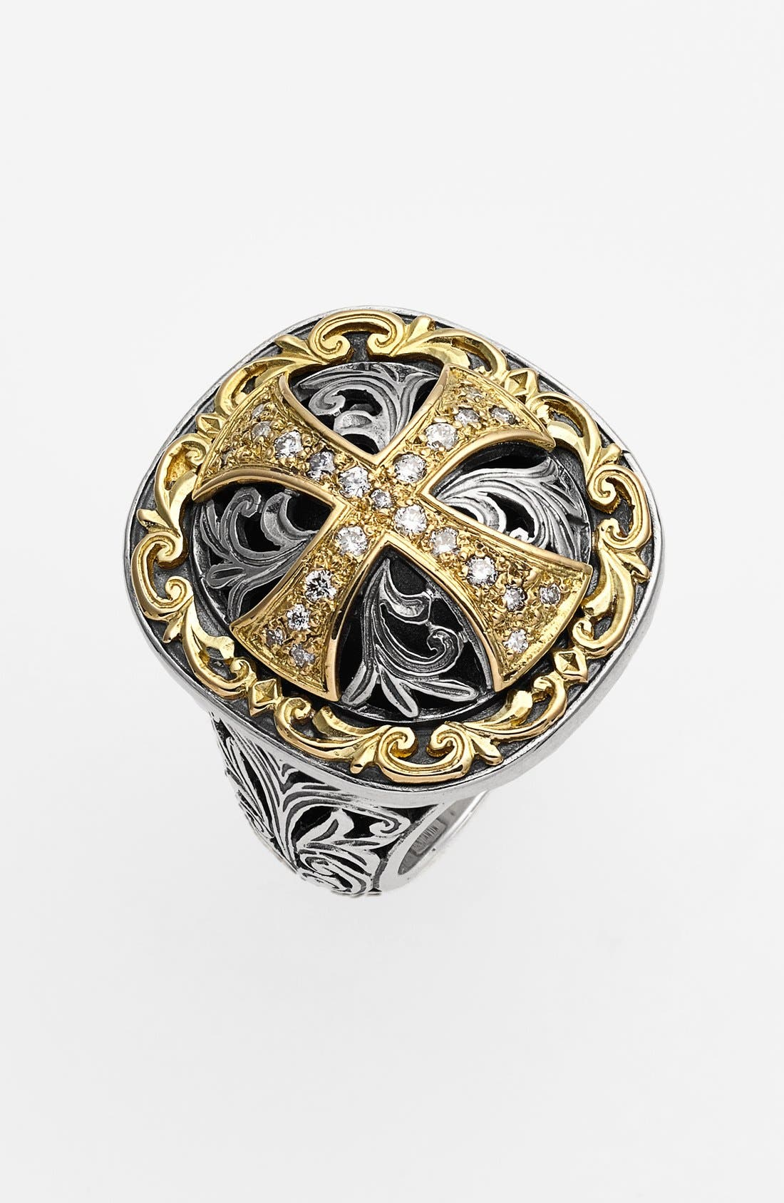 'Diamond Classics' Diamond Cross Two-Tone Ring,                             Main thumbnail 1, color,                             SILVER/ GOLD