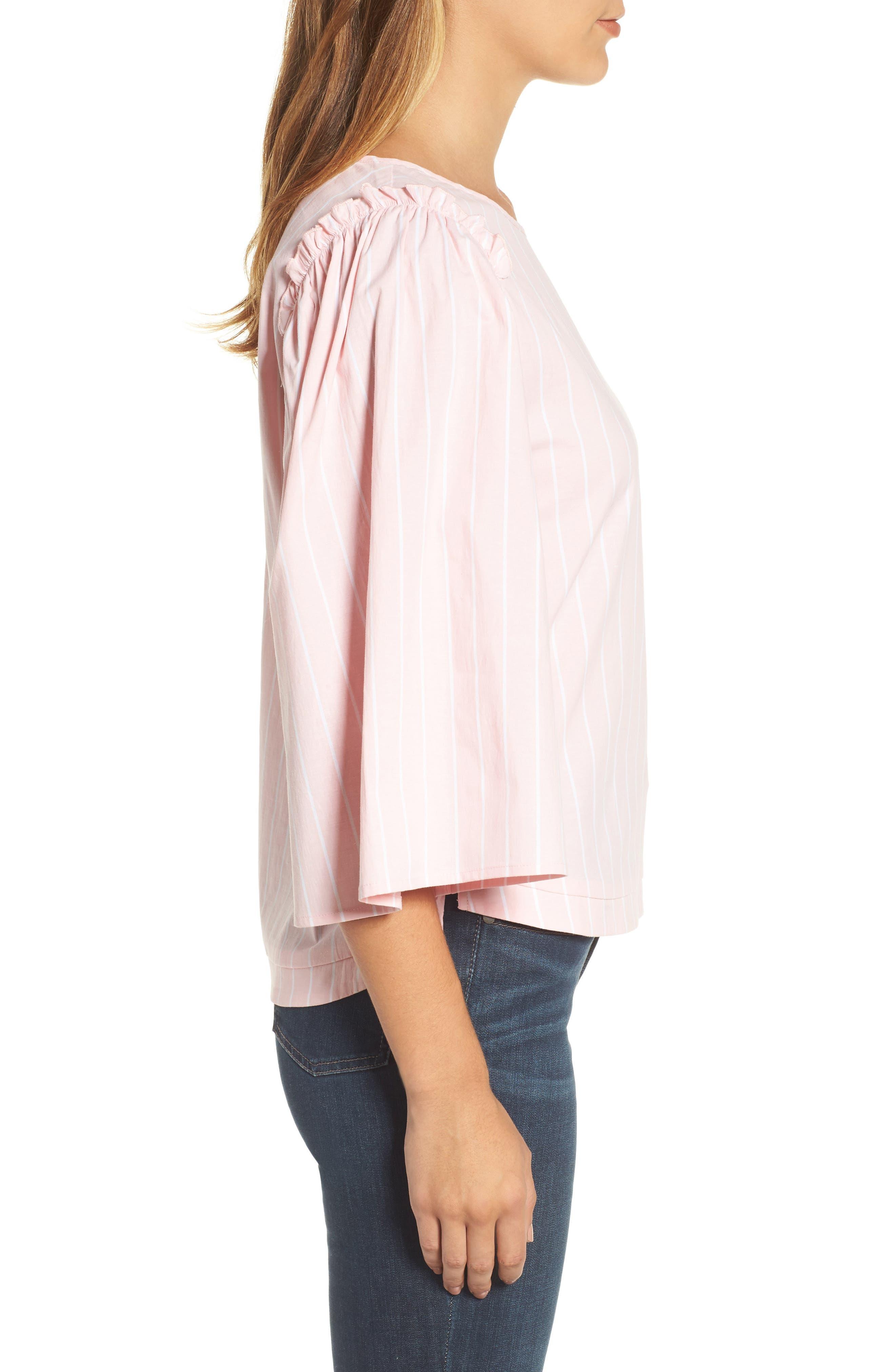 Bell Sleeve Stripe Blouse,                             Alternate thumbnail 6, color,
