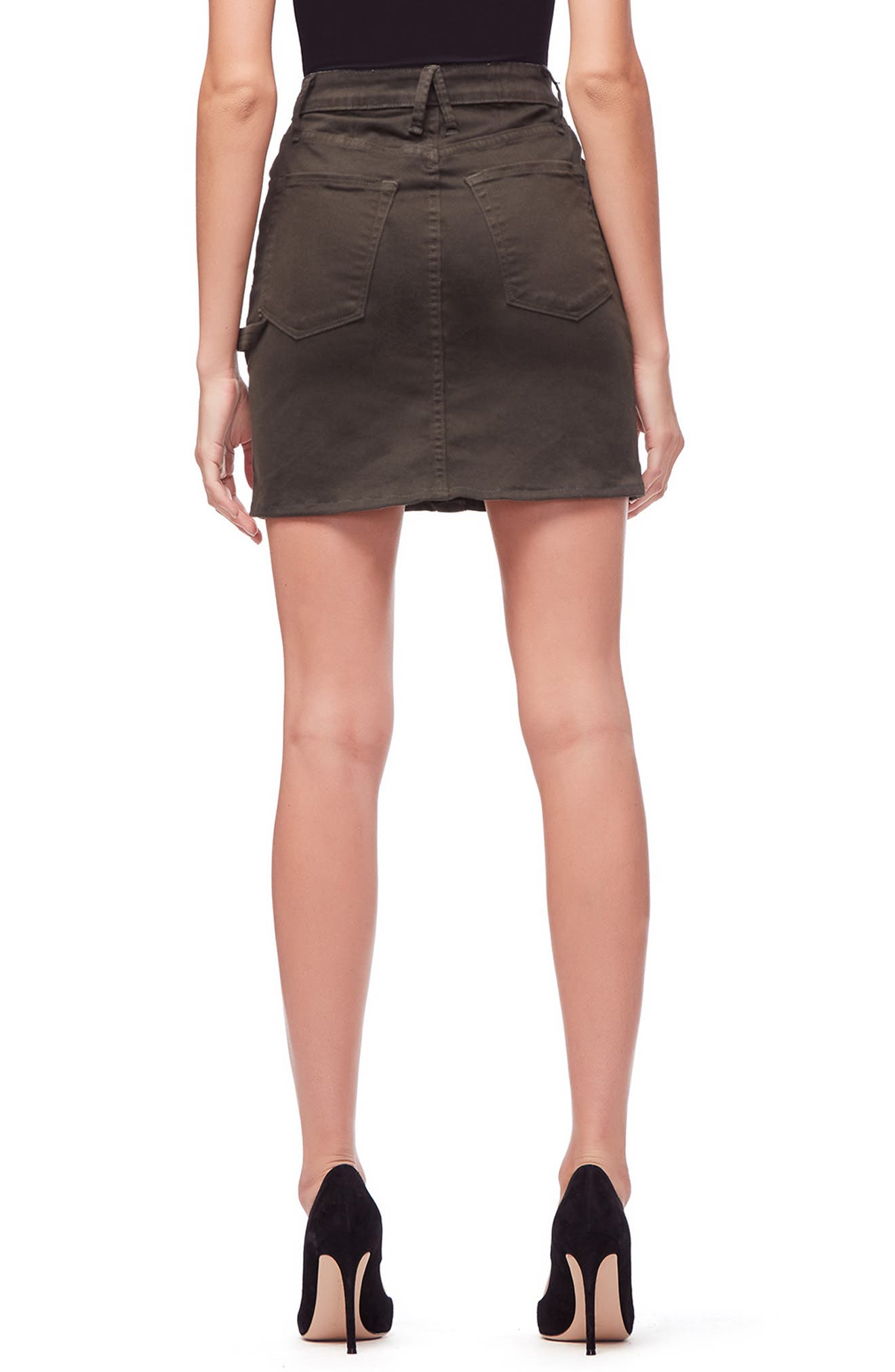Front Button Miniskirt,                             Alternate thumbnail 3, color,                             OLIVE001