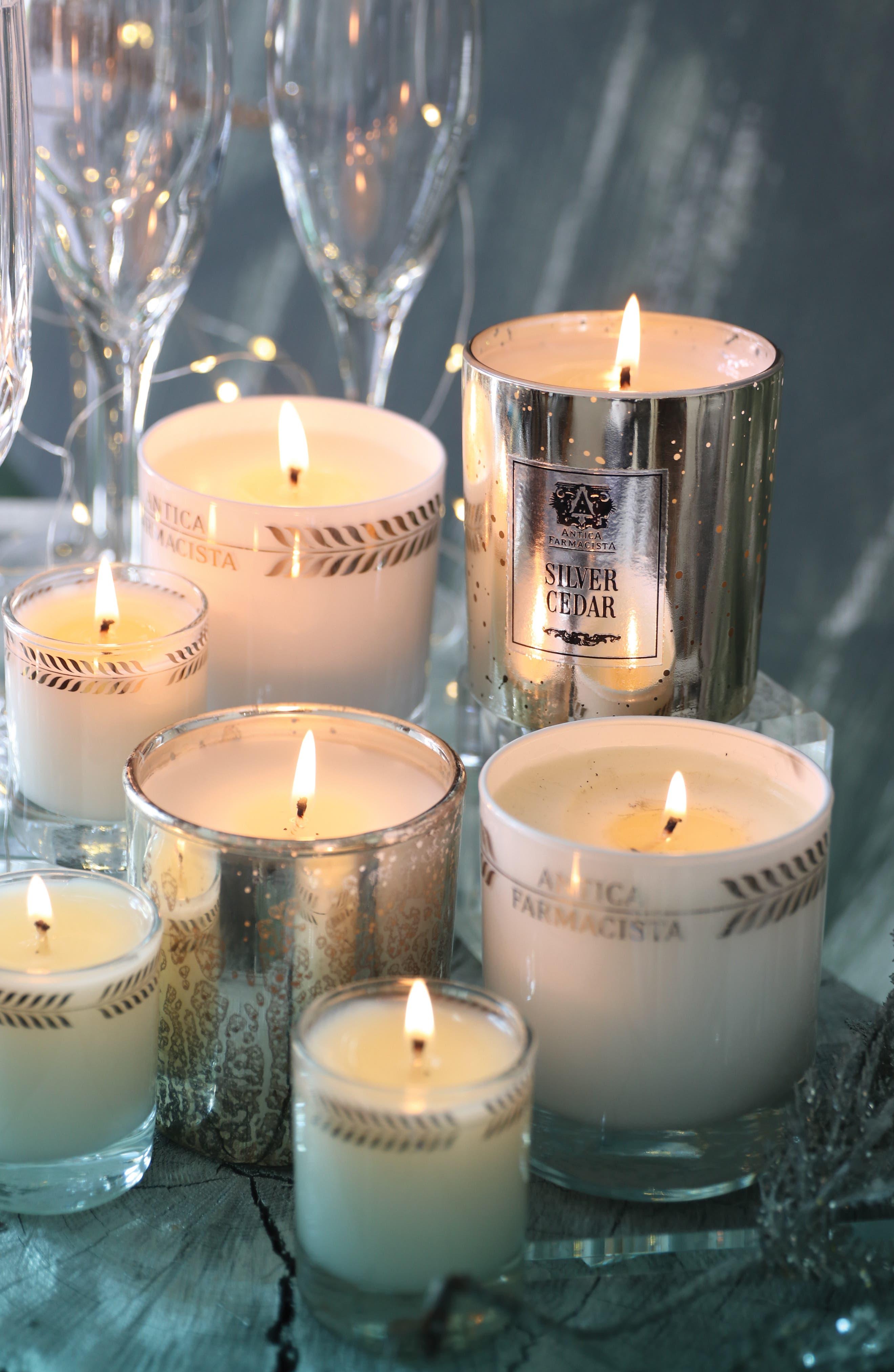 Silver Cedar Mercury Glass Candle,                             Alternate thumbnail 8, color,                             000