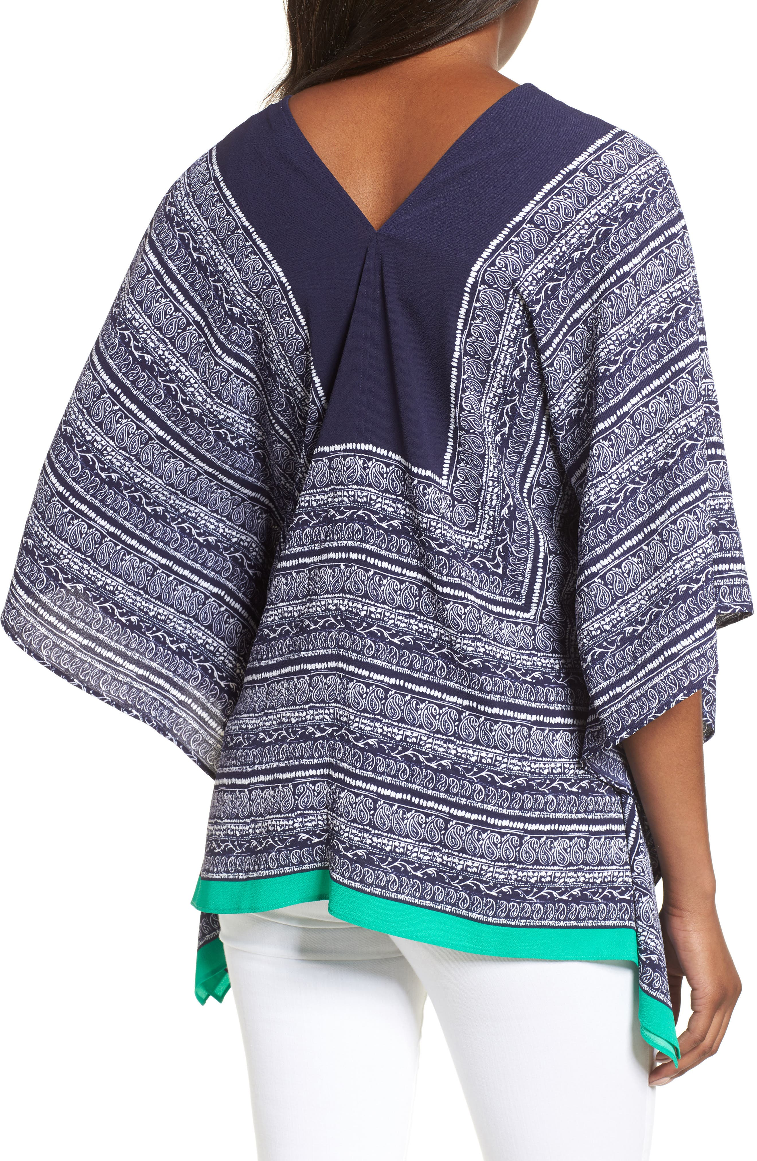 Paisley Scarf Poncho Top,                             Alternate thumbnail 2, color,                             EVENING NAVY