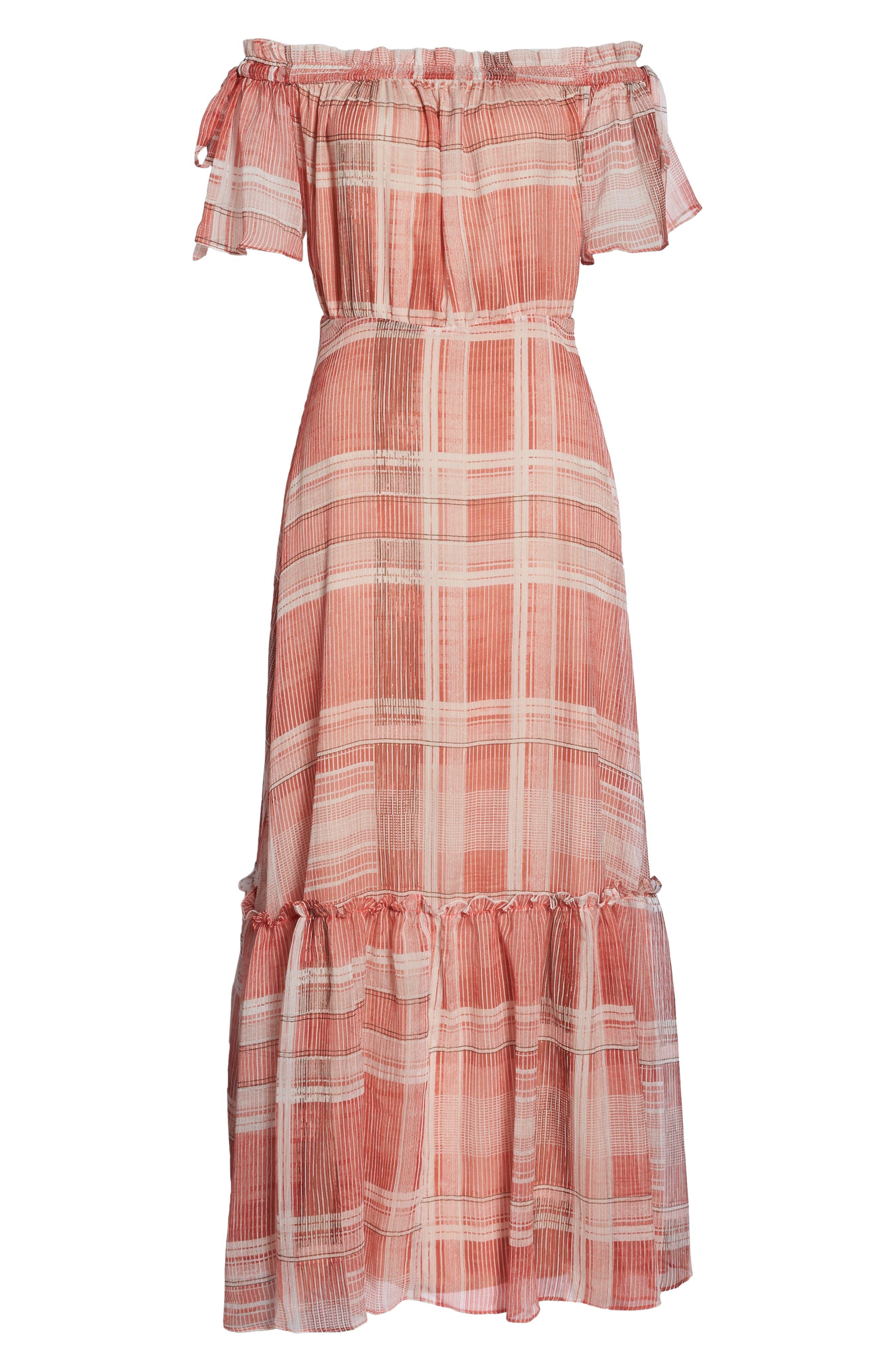 Plaid Off the Shoulder Maxi Dress,                             Alternate thumbnail 8, color,                             643