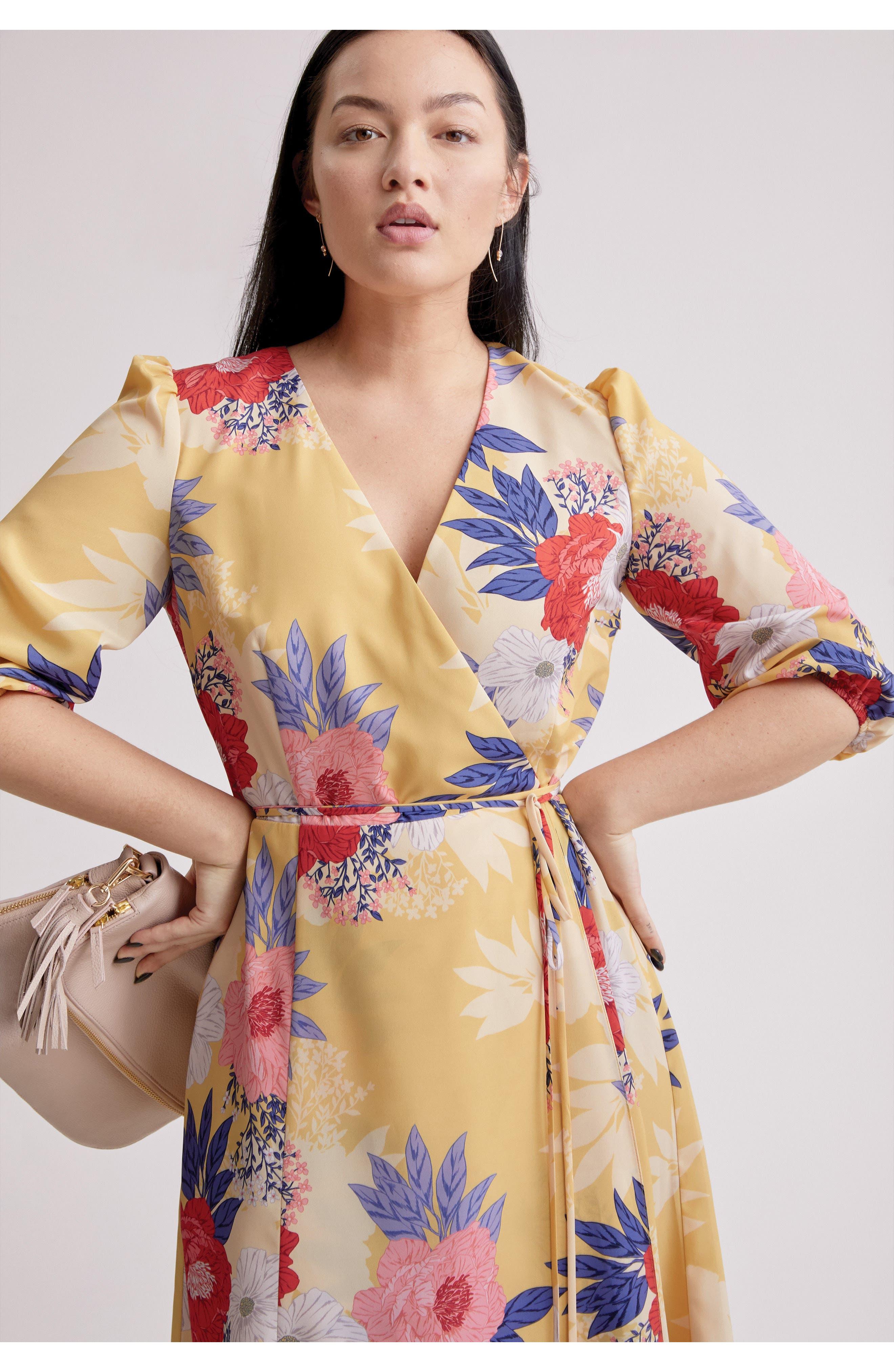 Faux Wrap Midi Dress,                             Alternate thumbnail 9, color,                             720