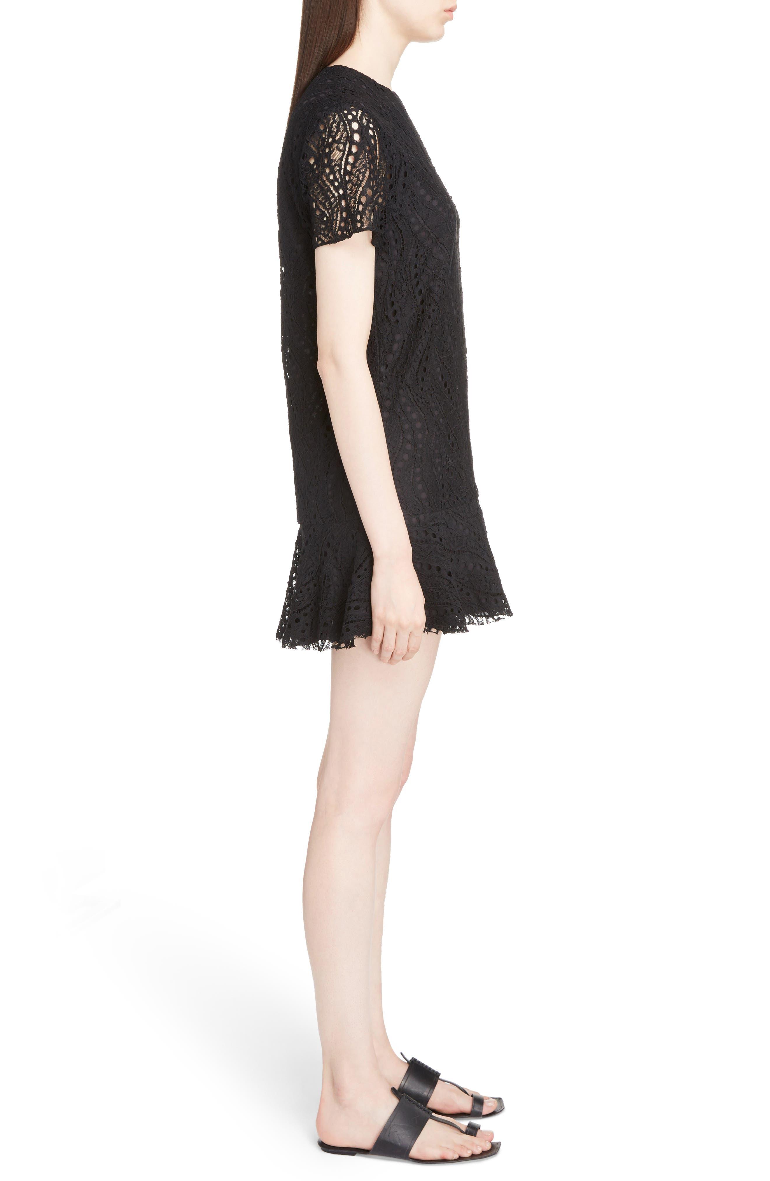 Lace Ruffle Hem Dress,                             Alternate thumbnail 3, color,