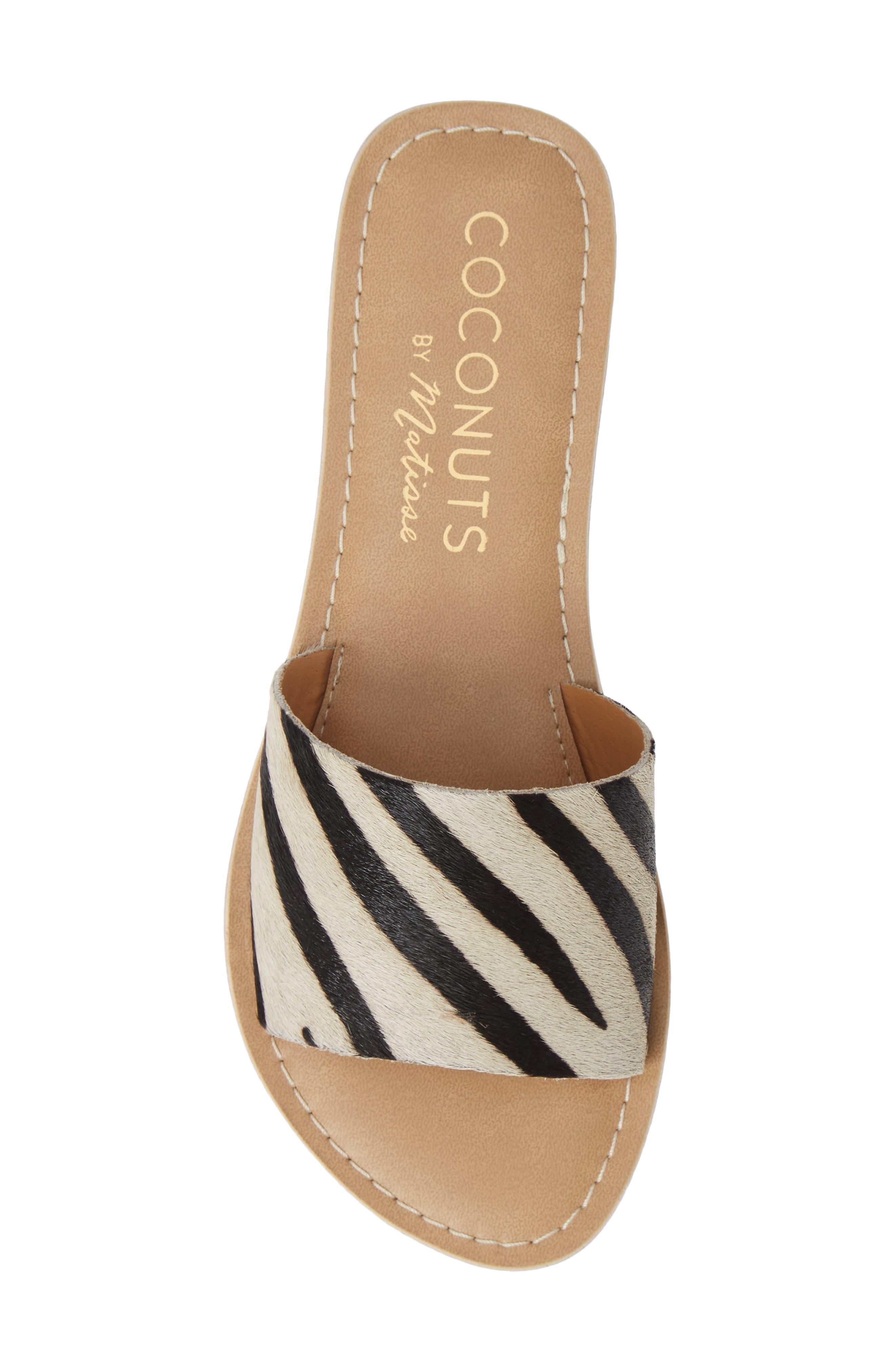 Cabana Genuine Calf Hair Slide Sandal,                             Alternate thumbnail 5, color,                             ZEBRA PRINT CALF HAIR