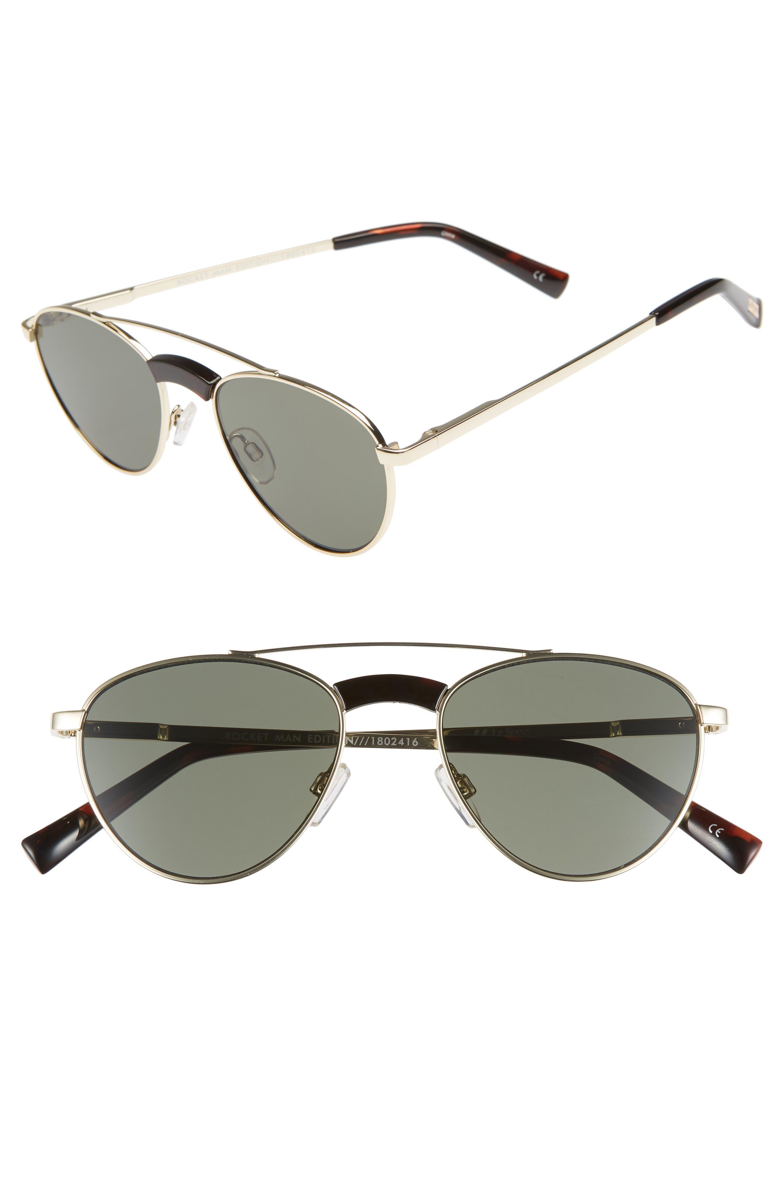 Rocket Man 52mm Aviator Sunglasses,                         Main,                         color, BRIGHT GOLD
