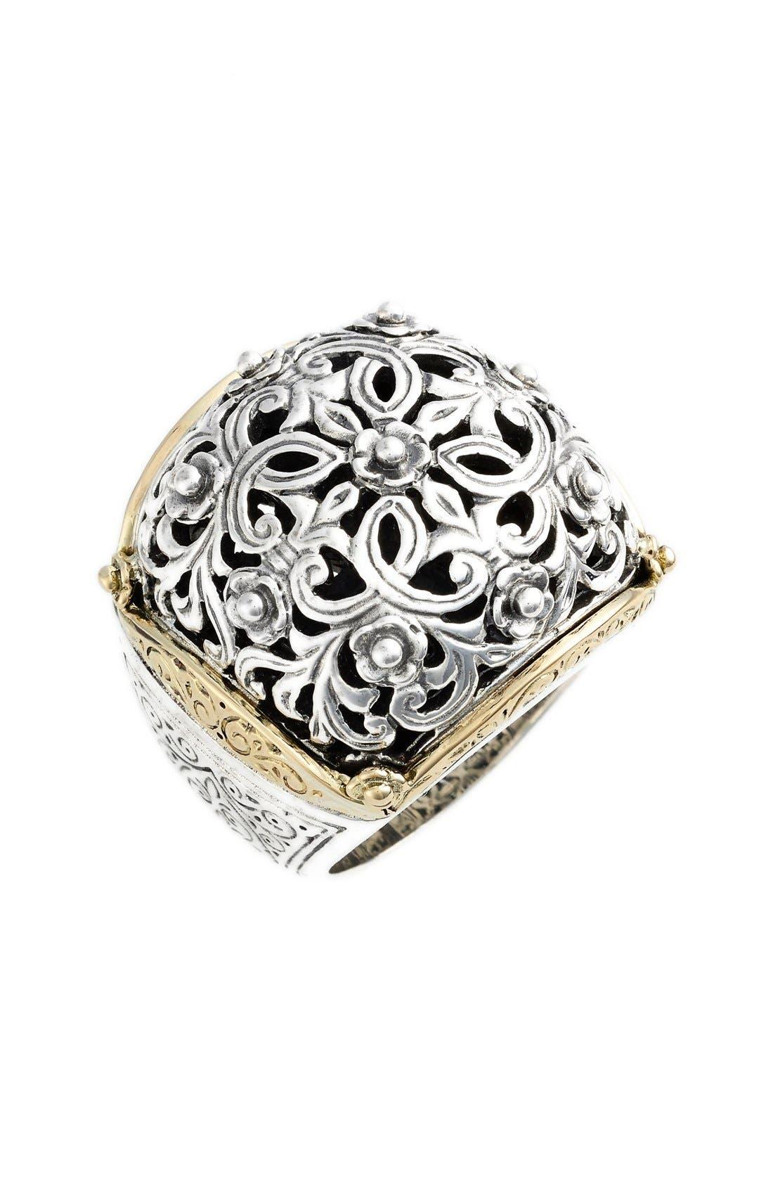 'Silver & Gold Classics' Filigree Ring,                             Main thumbnail 1, color,                             040