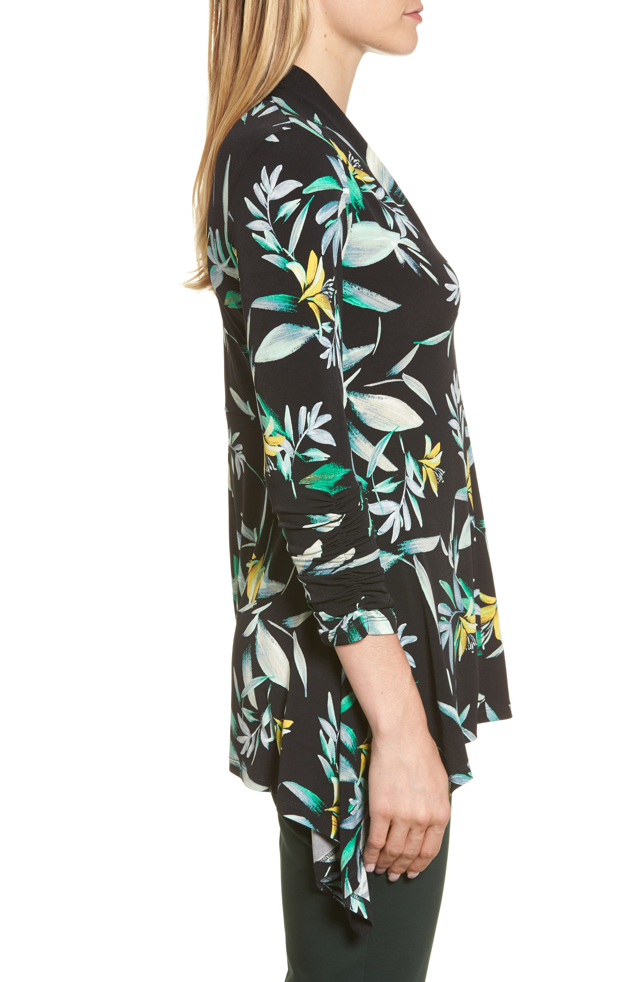 Ruched Sleeve Floral Print Top,                             Alternate thumbnail 3, color,                             010