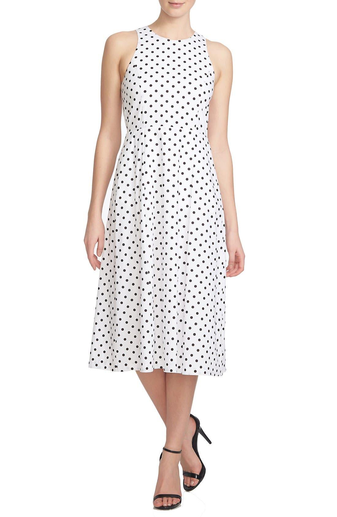 1.STATE,                             Polka Dot Cutout Fit & Flare Midi Dress,                             Main thumbnail 1, color,                             909