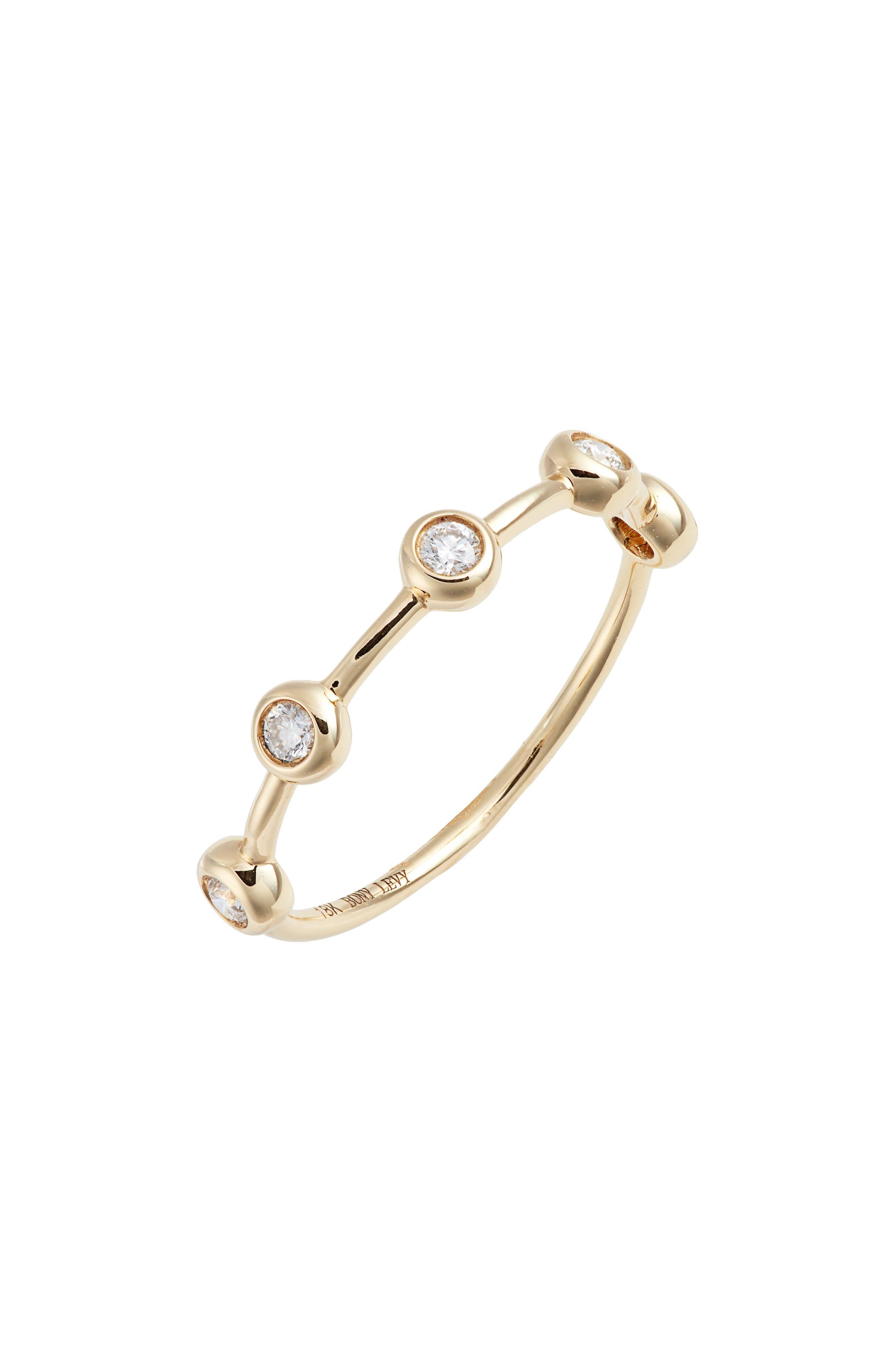 Monaco Bezel Diamond Ring,                         Main,                         color, YELLOW GOLD/ DIA
