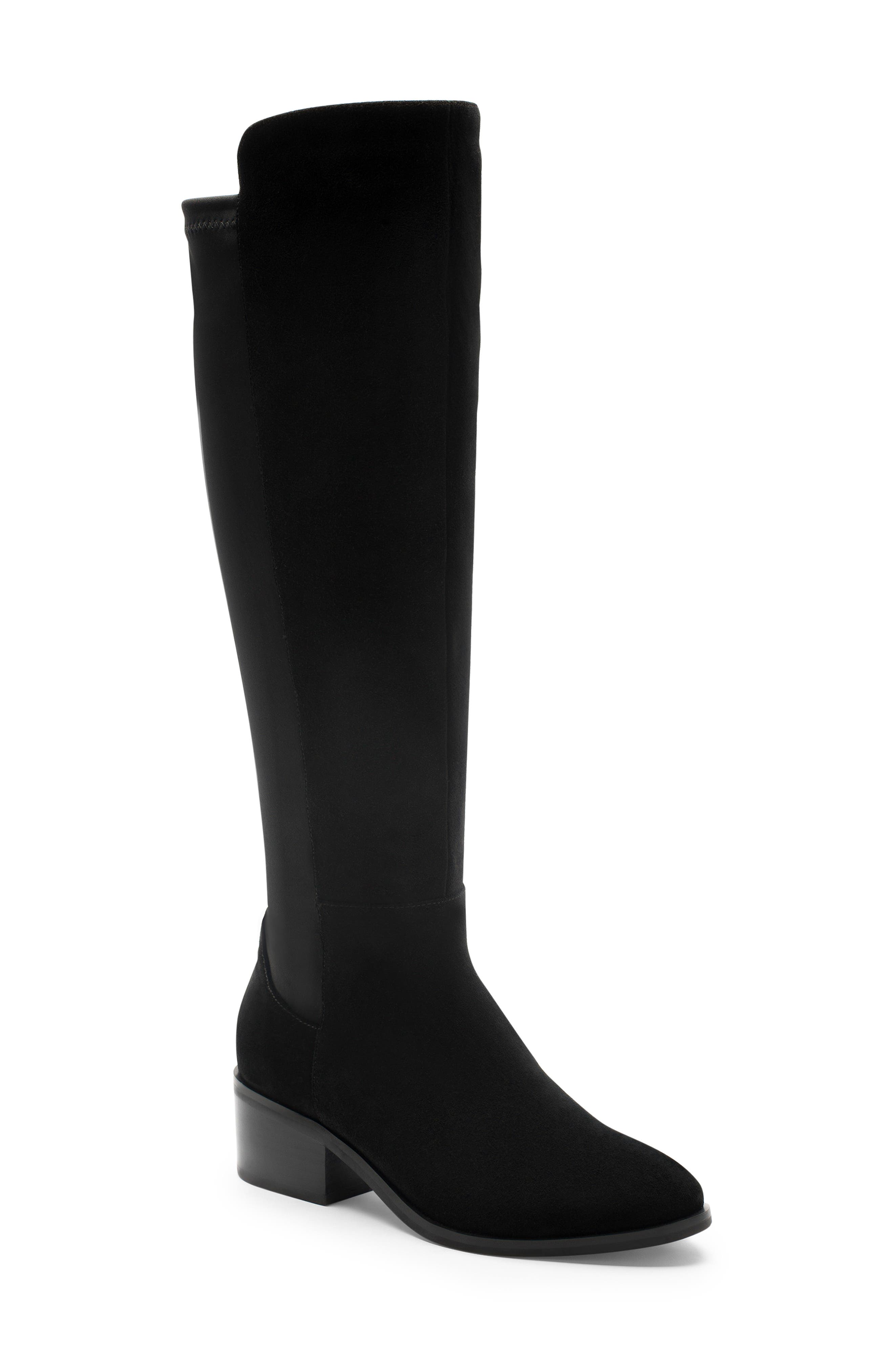 Gallo Knee-High Waterproof Boot,                             Main thumbnail 1, color,                             BLACK SUEDE